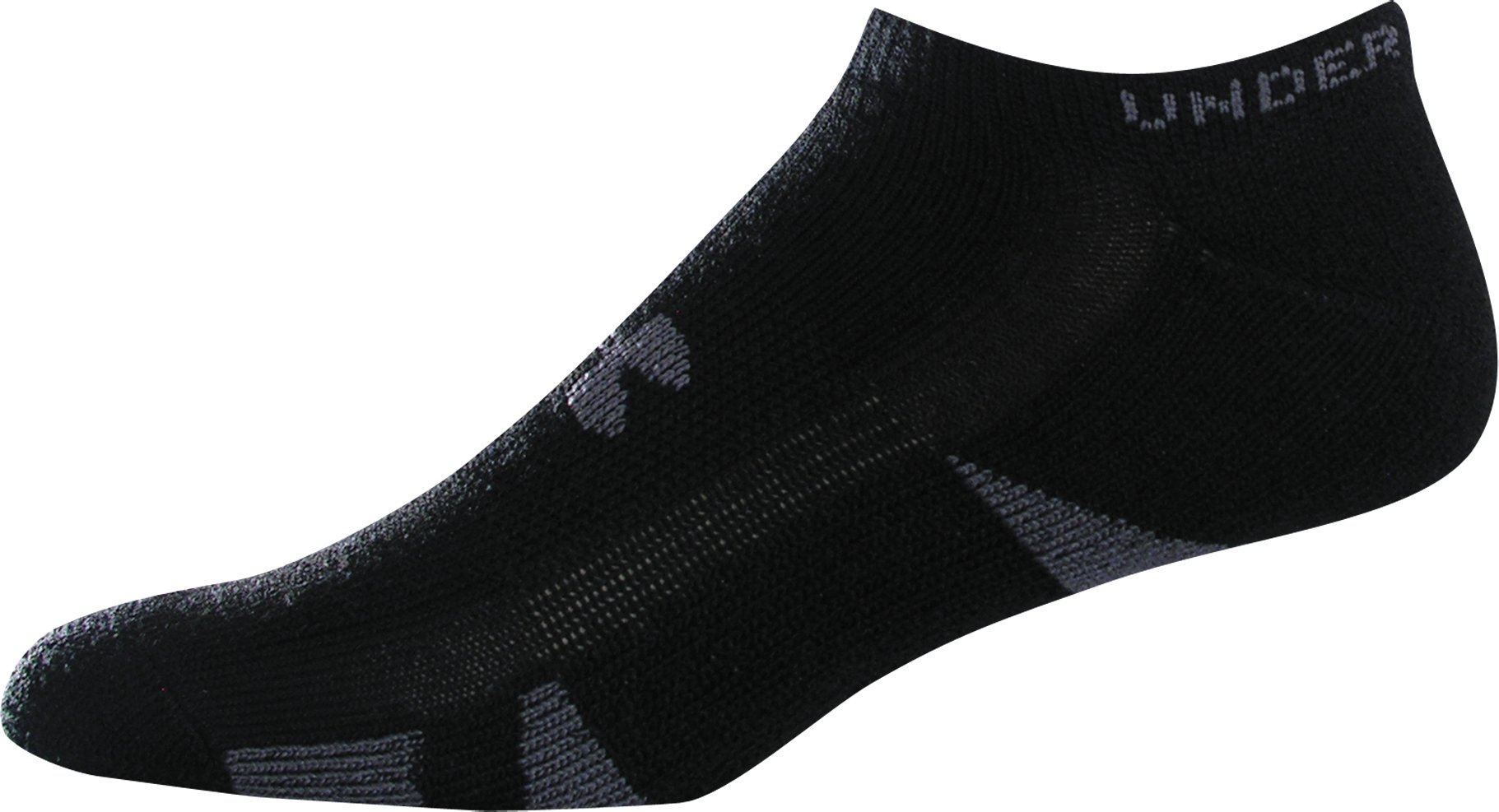 HeatGear® Trainer No Show Socks 4-Pack, Black , zoomed image
