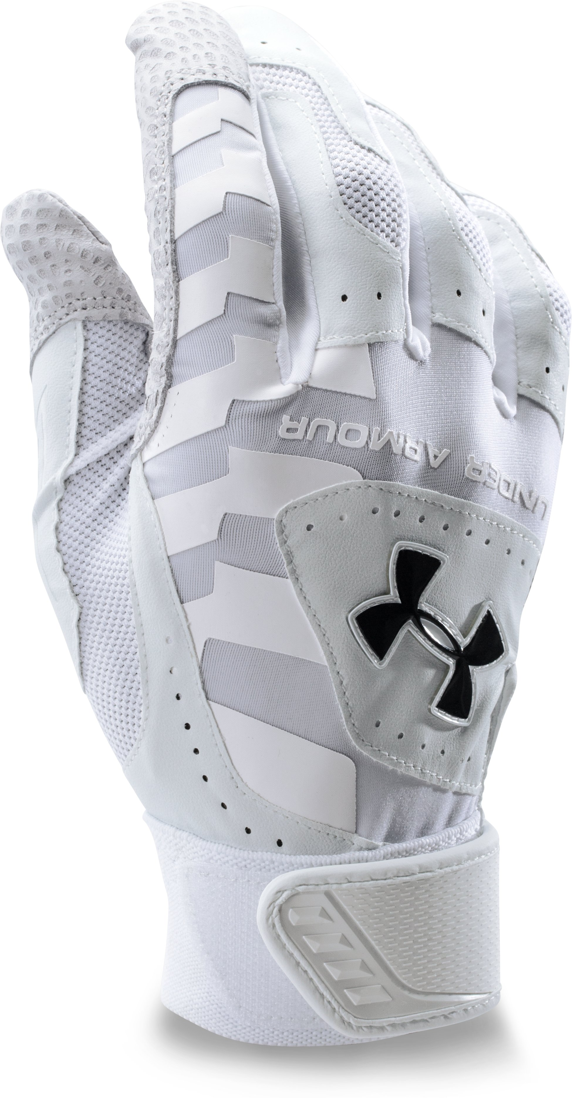 Men's UA Yard Batting Gloves, White