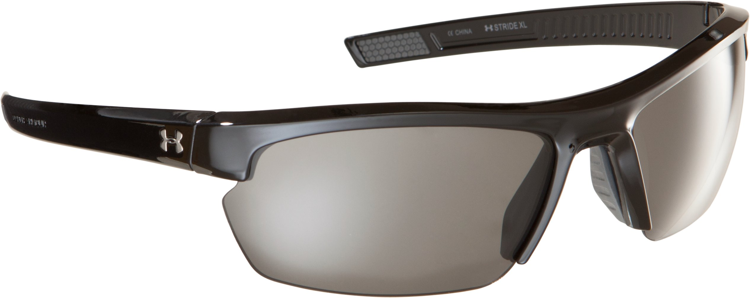 UA Stride XL Sunglasses, Shiny Black