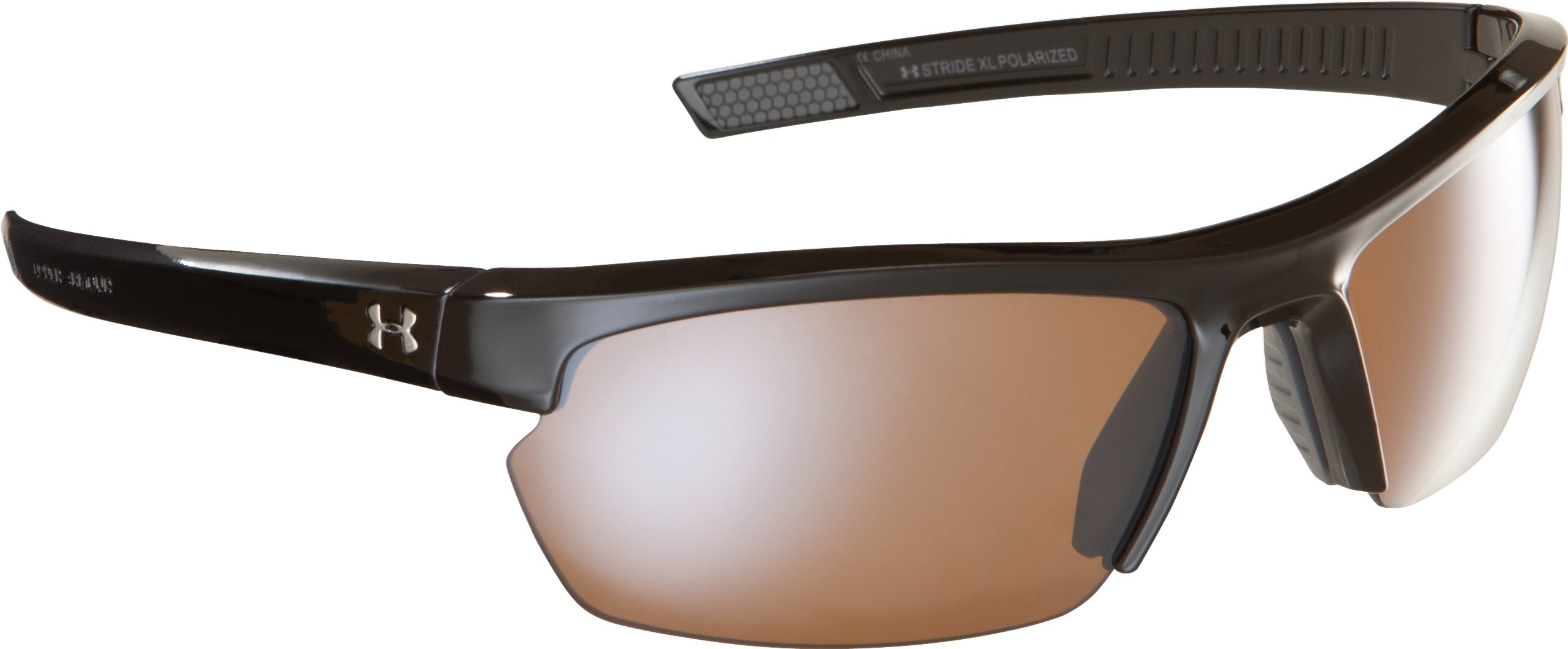 UA Stride XL Polarized Sunglasses, Shiny Black