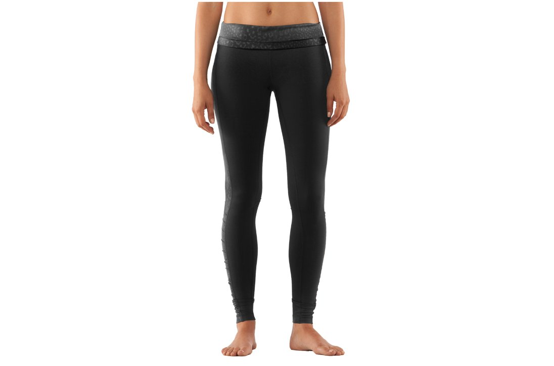 Women's UA StudioLux® Noir Foldover Leggings, Black , zoomed image