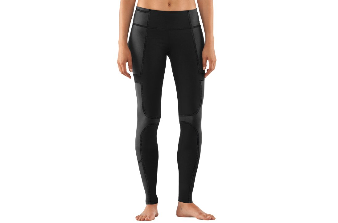 Women's UA StudioLux® Noir Pieced Legging, Black , zoomed image