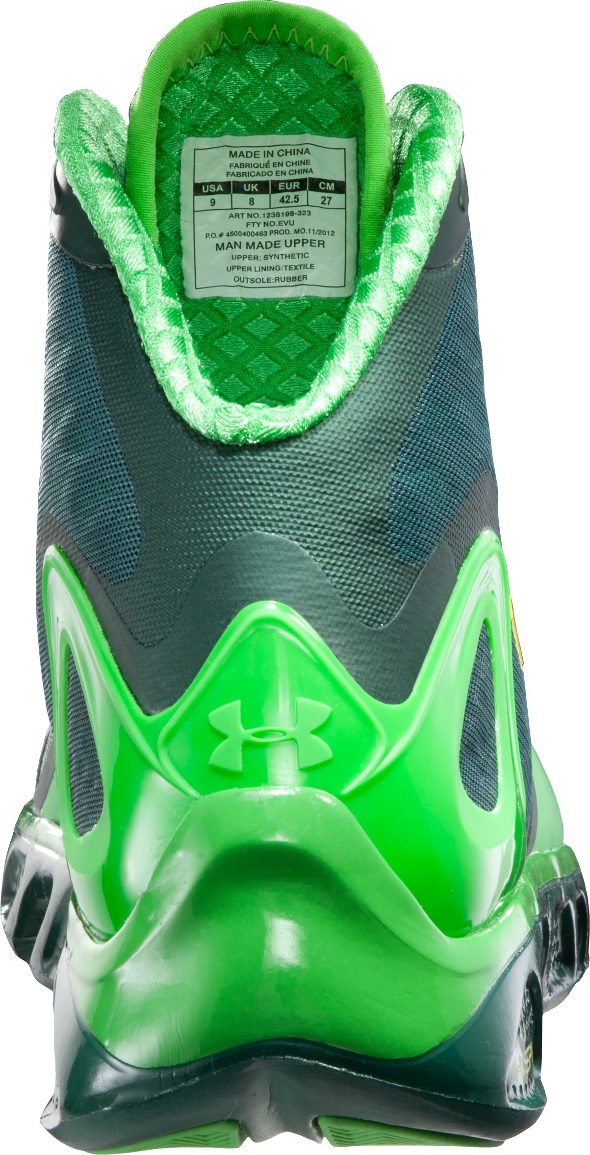 Men's UA Spine™ Bionic Basketball Shoes, PARROT GREEN, undefined