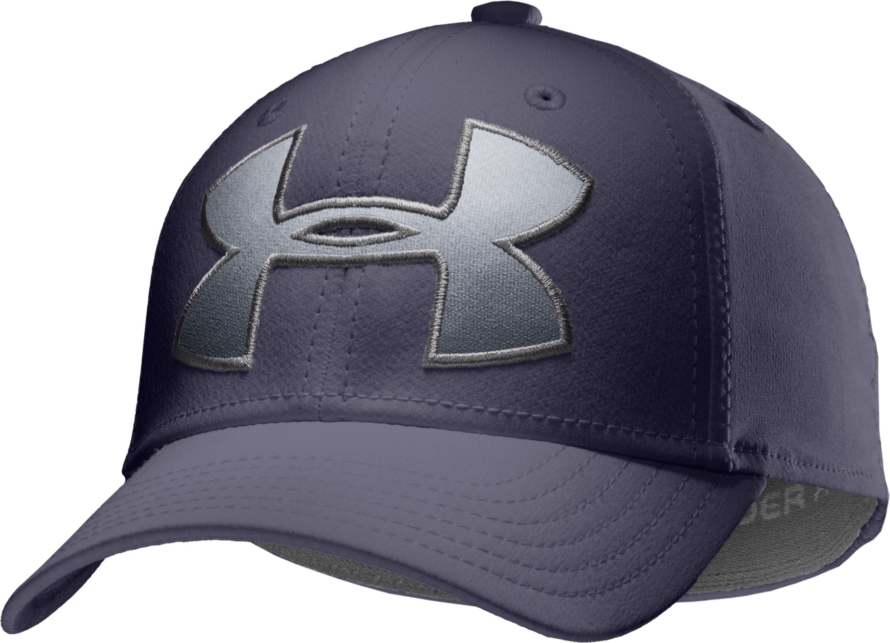 Boys' UA Big Logo Stretch Cap, Midnight Navy, zoomed image