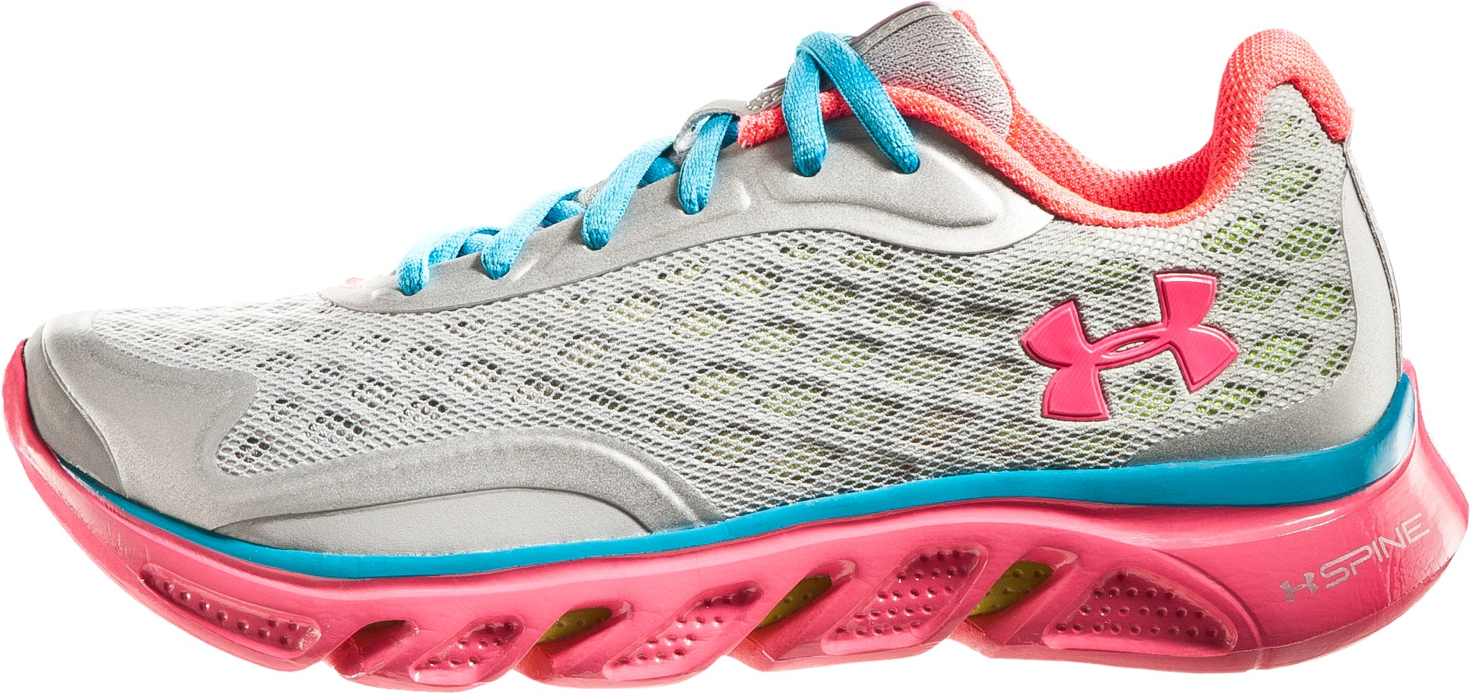 Girls' UA Spine RPM Grade School Running Shoes, Metallic Silver, zoomed image