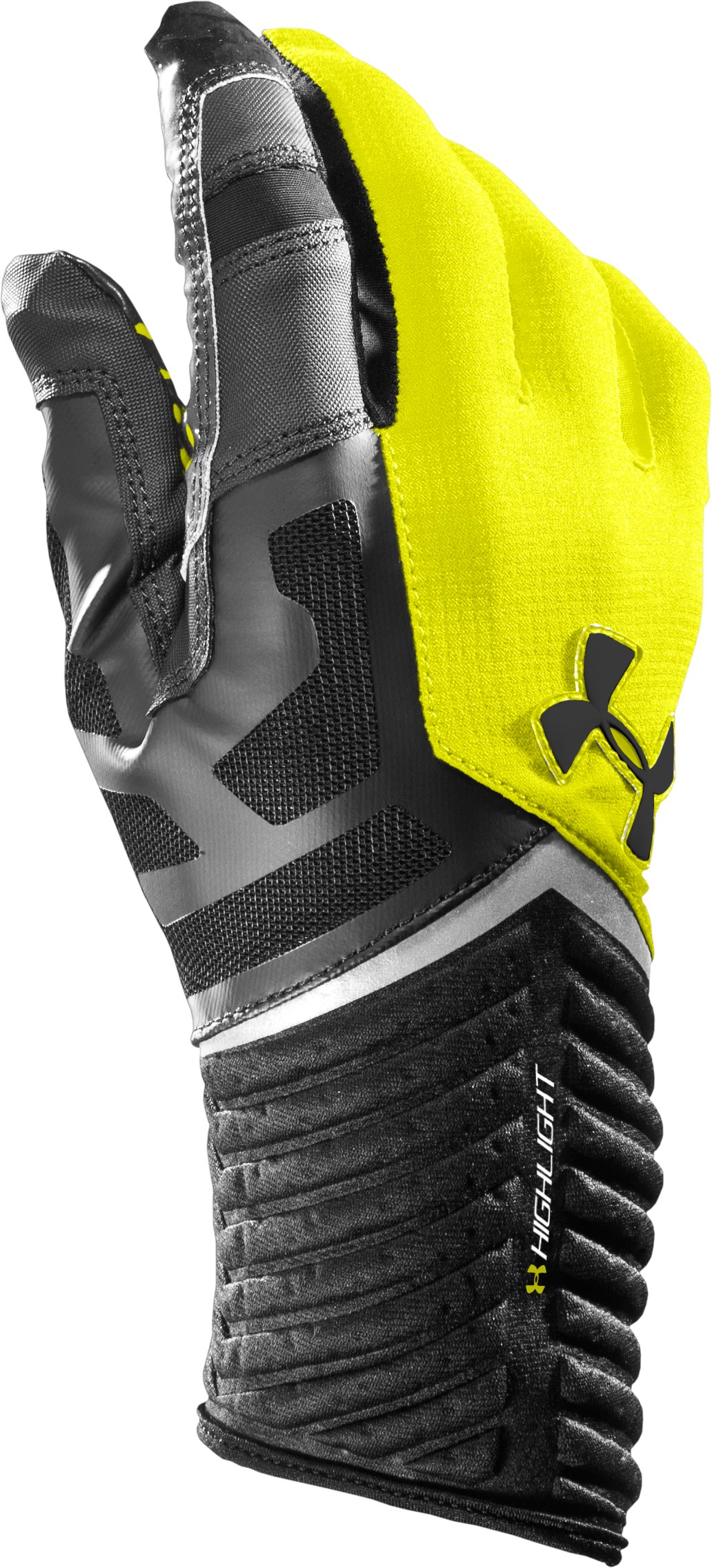 Men's UA Highlight Football Gloves, High-Vis Yellow, zoomed image