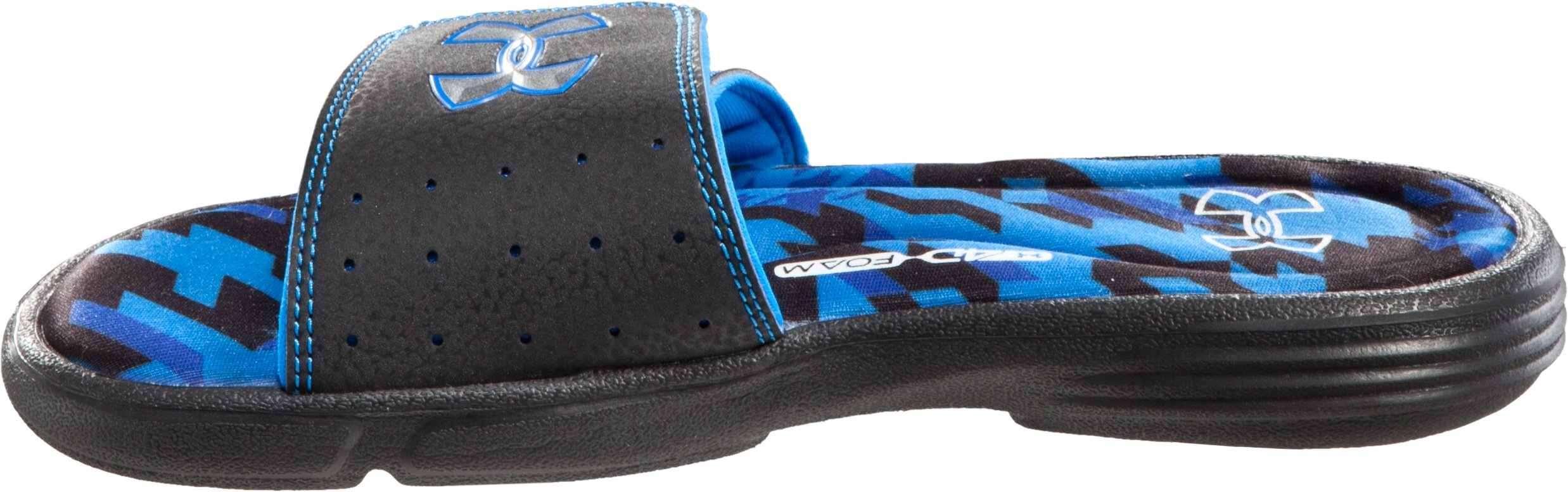 Boys' UA Ignite Illusion II Slides, Black , undefined