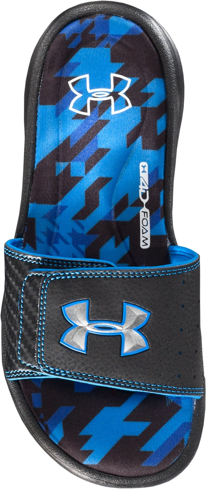 Boys' UA Ignite Illusion II Slides, Black ,