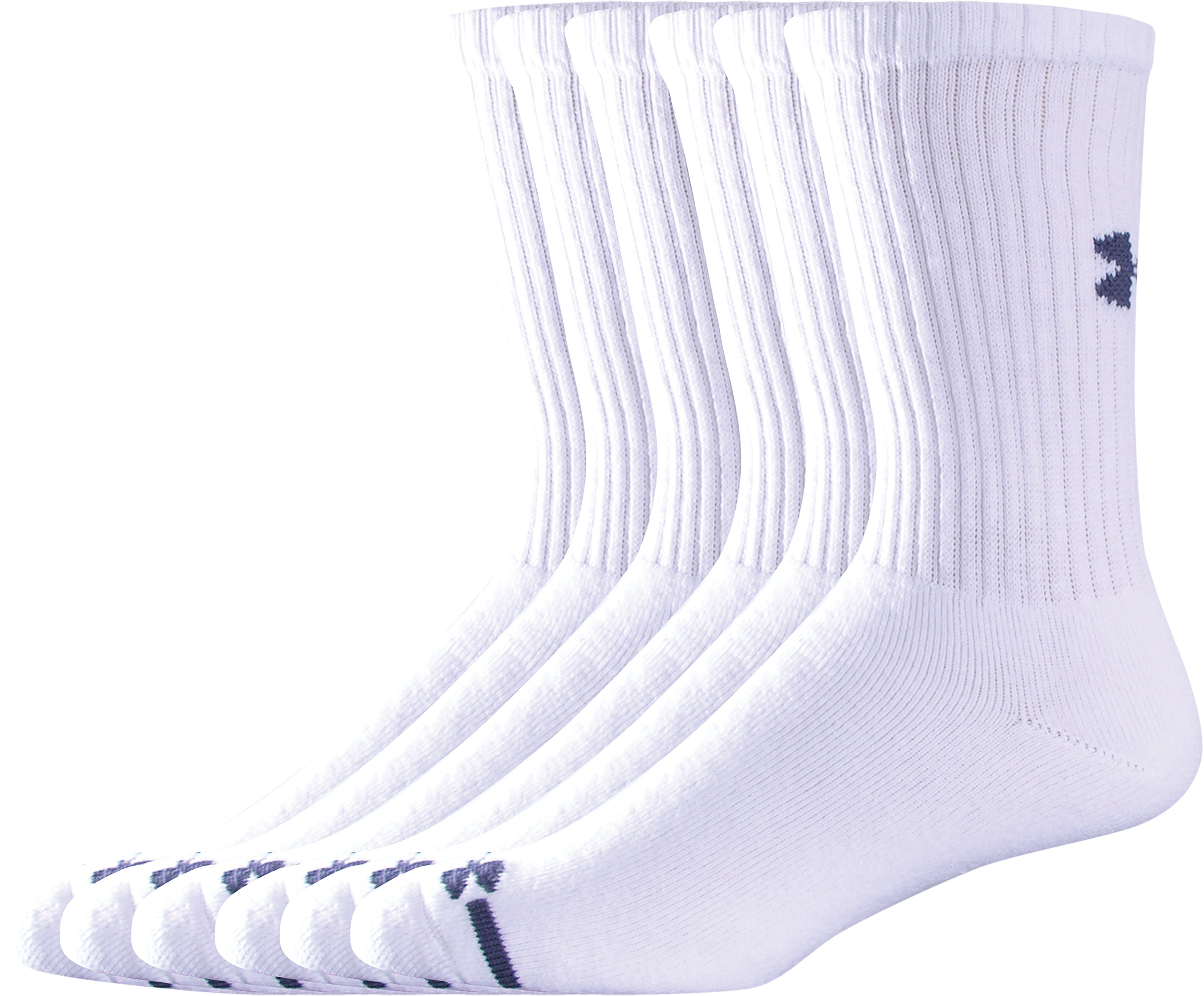 Men's Charged Cotton® Crew Socks 6-Pack, White