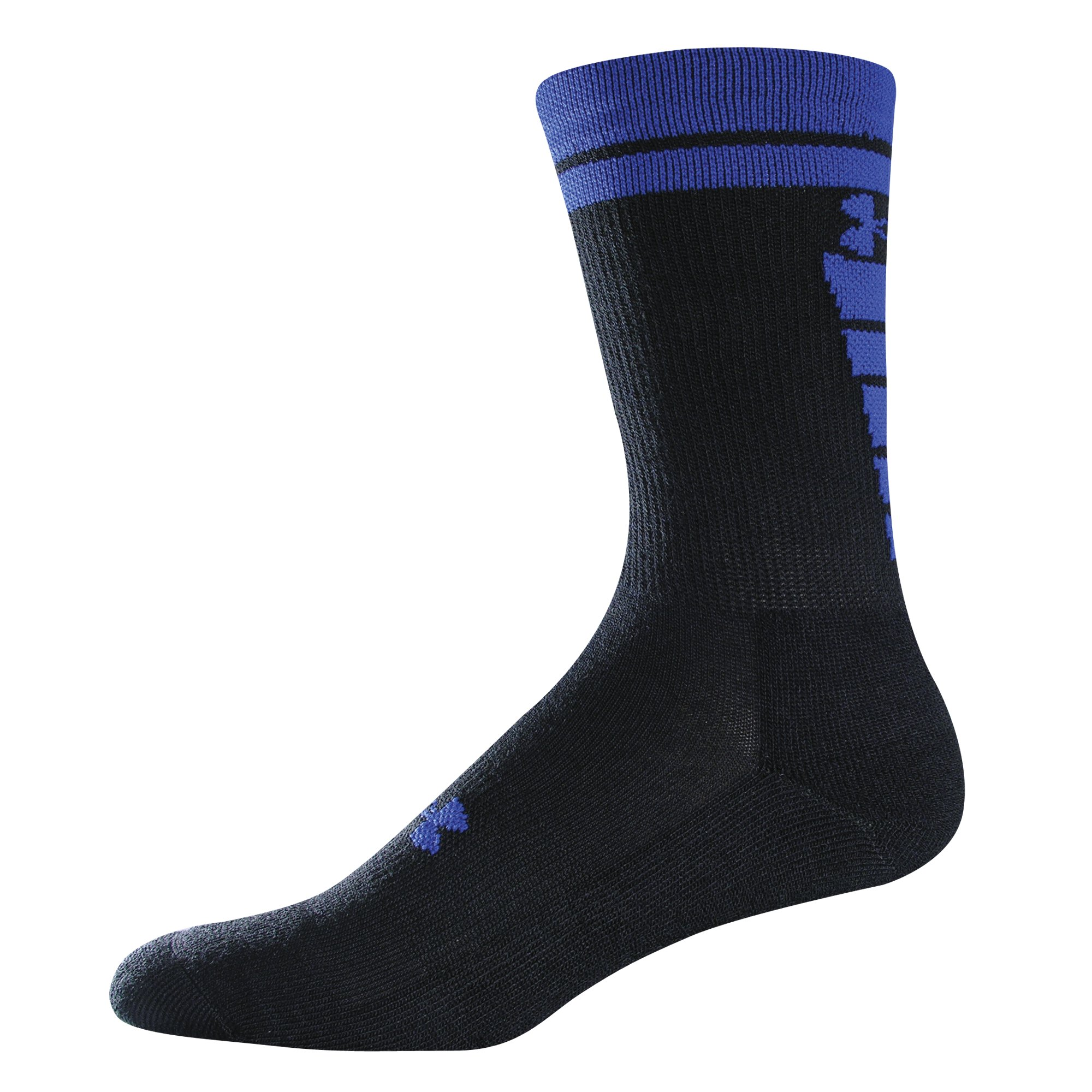 Youth UA Zagger Crew Socks, Black ,