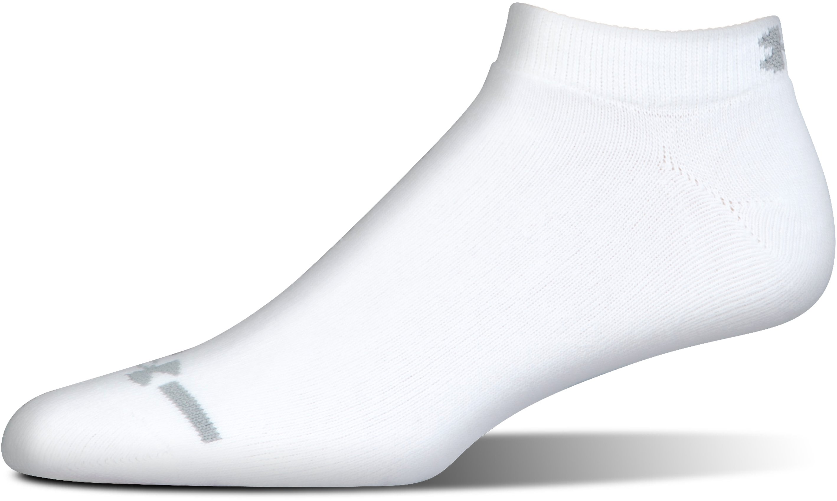 Men's Charged Cotton® No Show Socks 6-Pack, White
