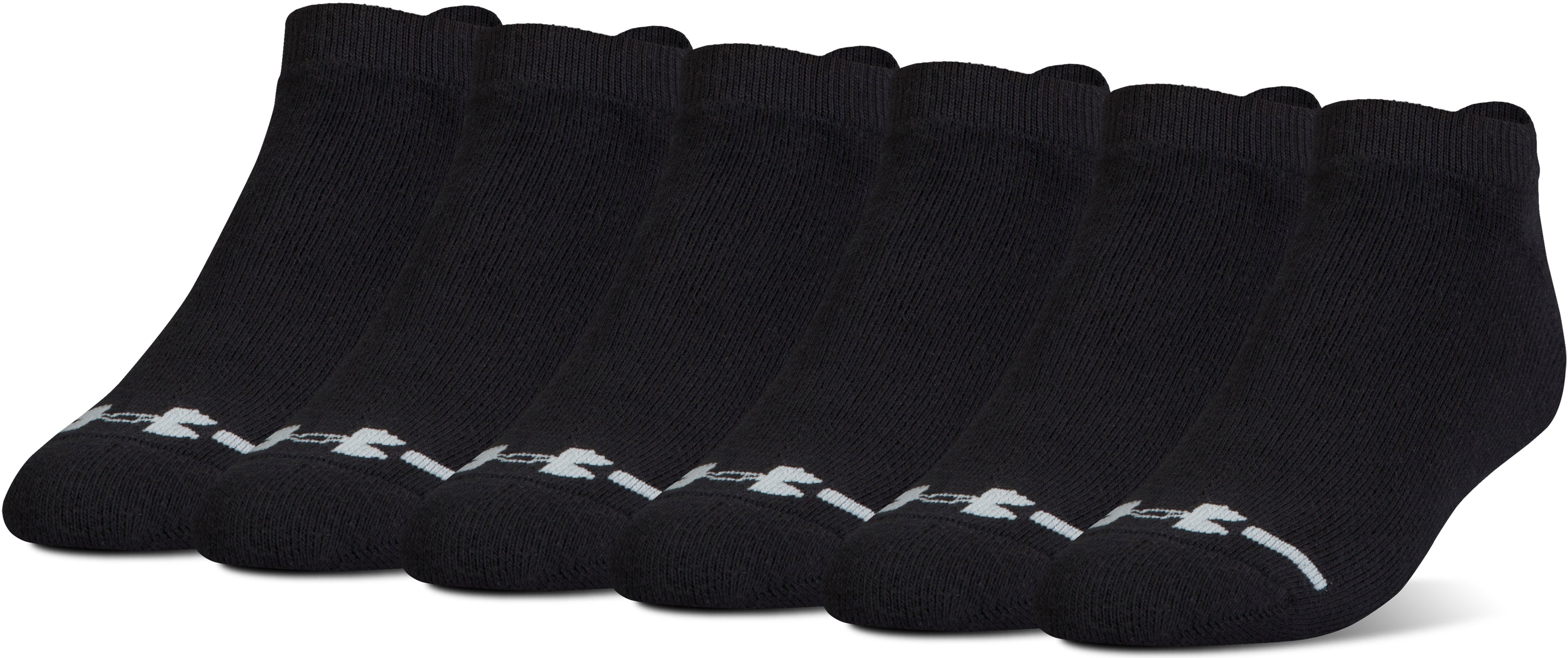 Men's UA Charged Cotton® Lo Cut Socks - 6 Pack, Black , undefined
