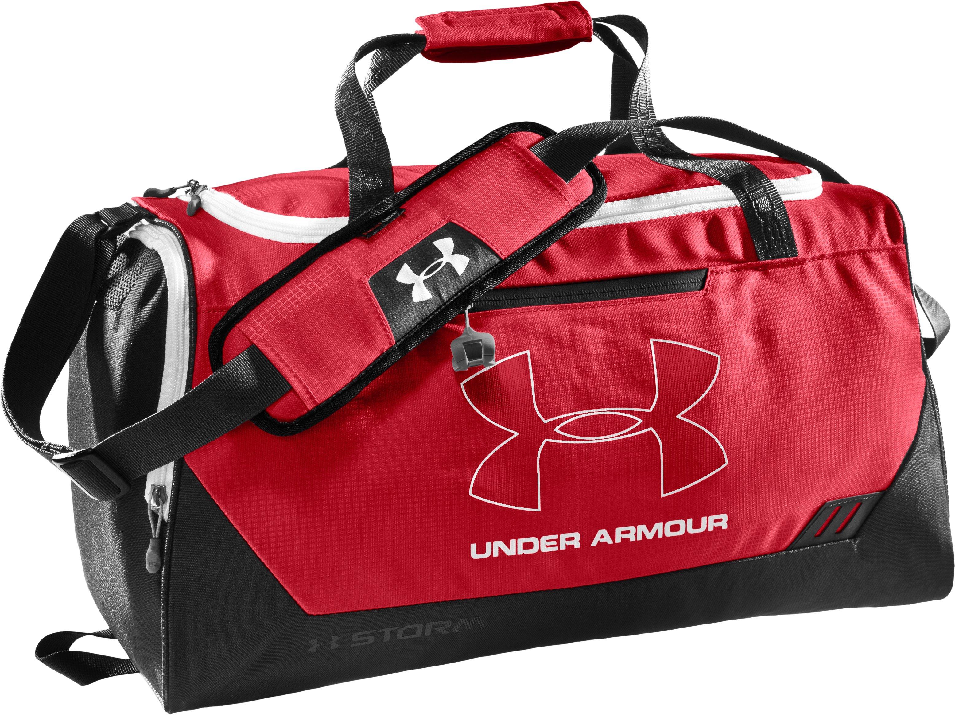 UA Hustle Storm SM Duffle Bag, Red, zoomed image