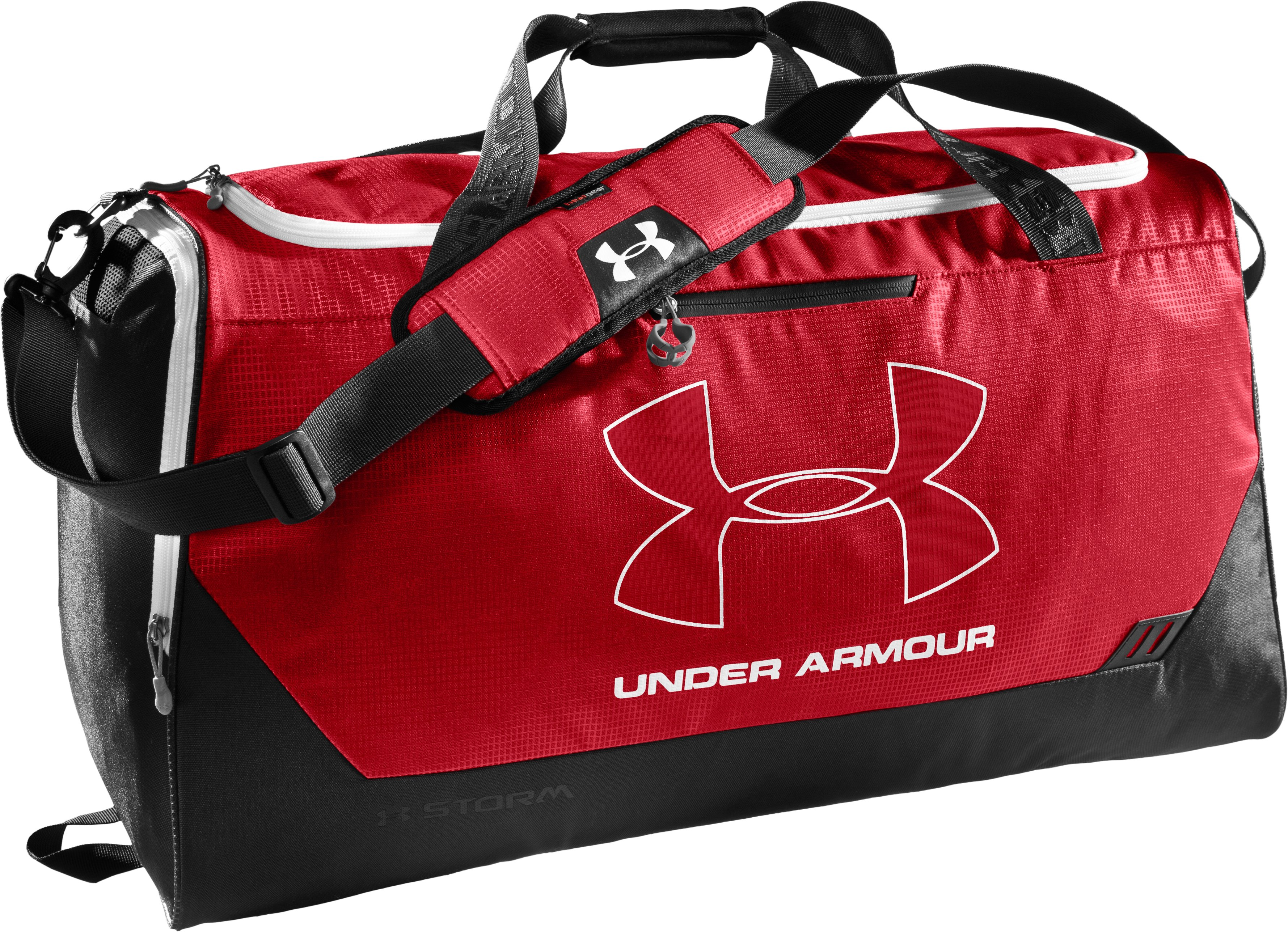 UA Hustle Storm LG Duffle Bag, Red, zoomed image