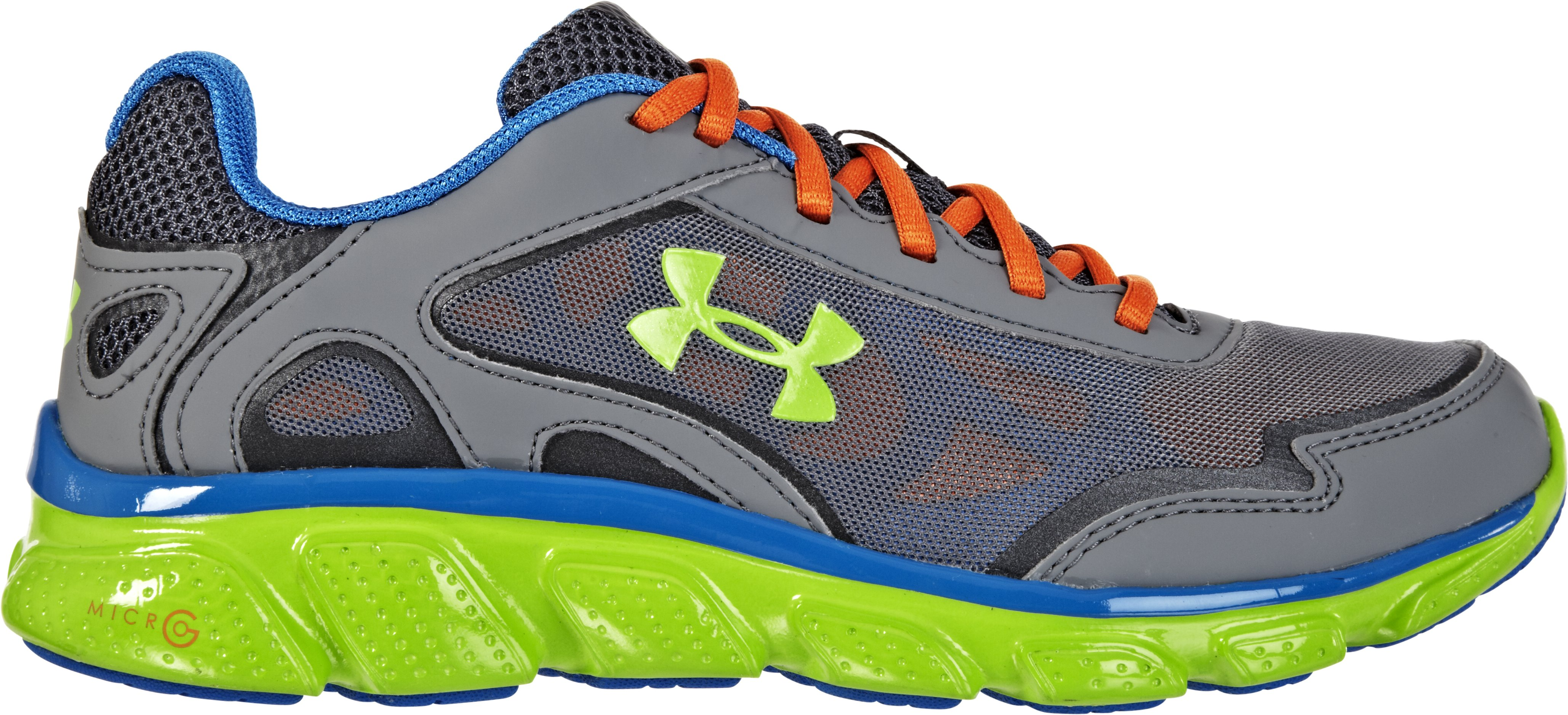 Boys' UA Micro G® Pulse Grade School Running Shoes, Charcoal, zoomed image
