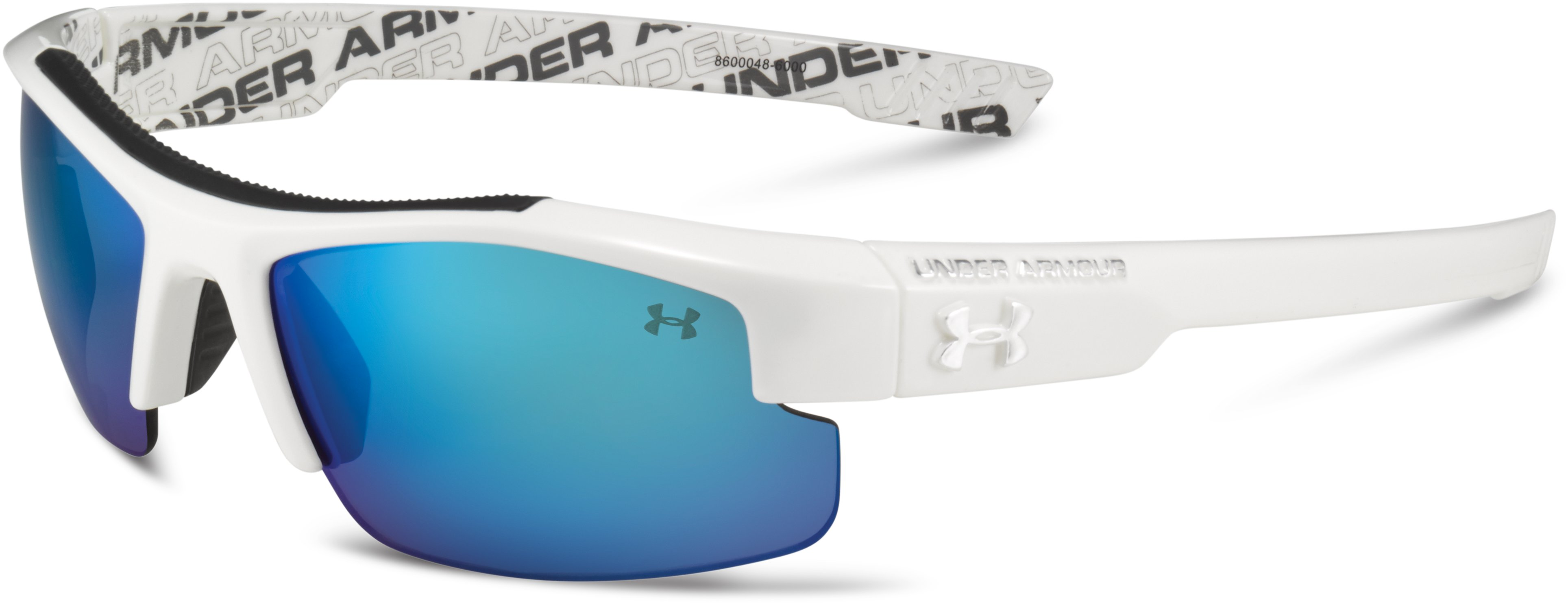 Kids' UA Nitro L Sunglasses, Shiny White With Print, zoomed image