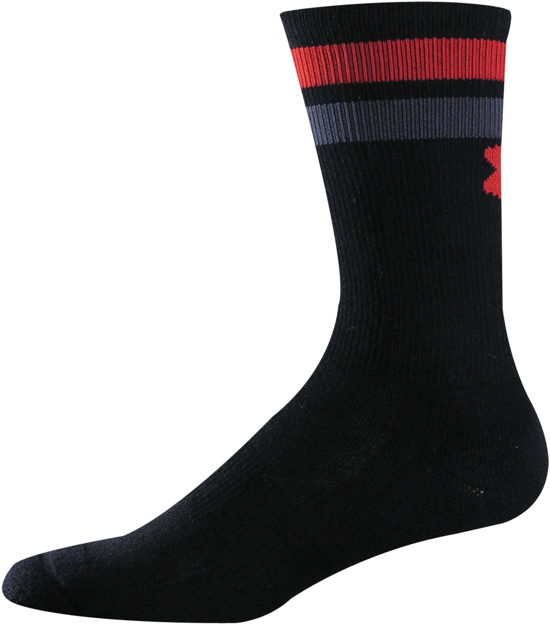 Men's UA Double Stripe Crew Socks, Black