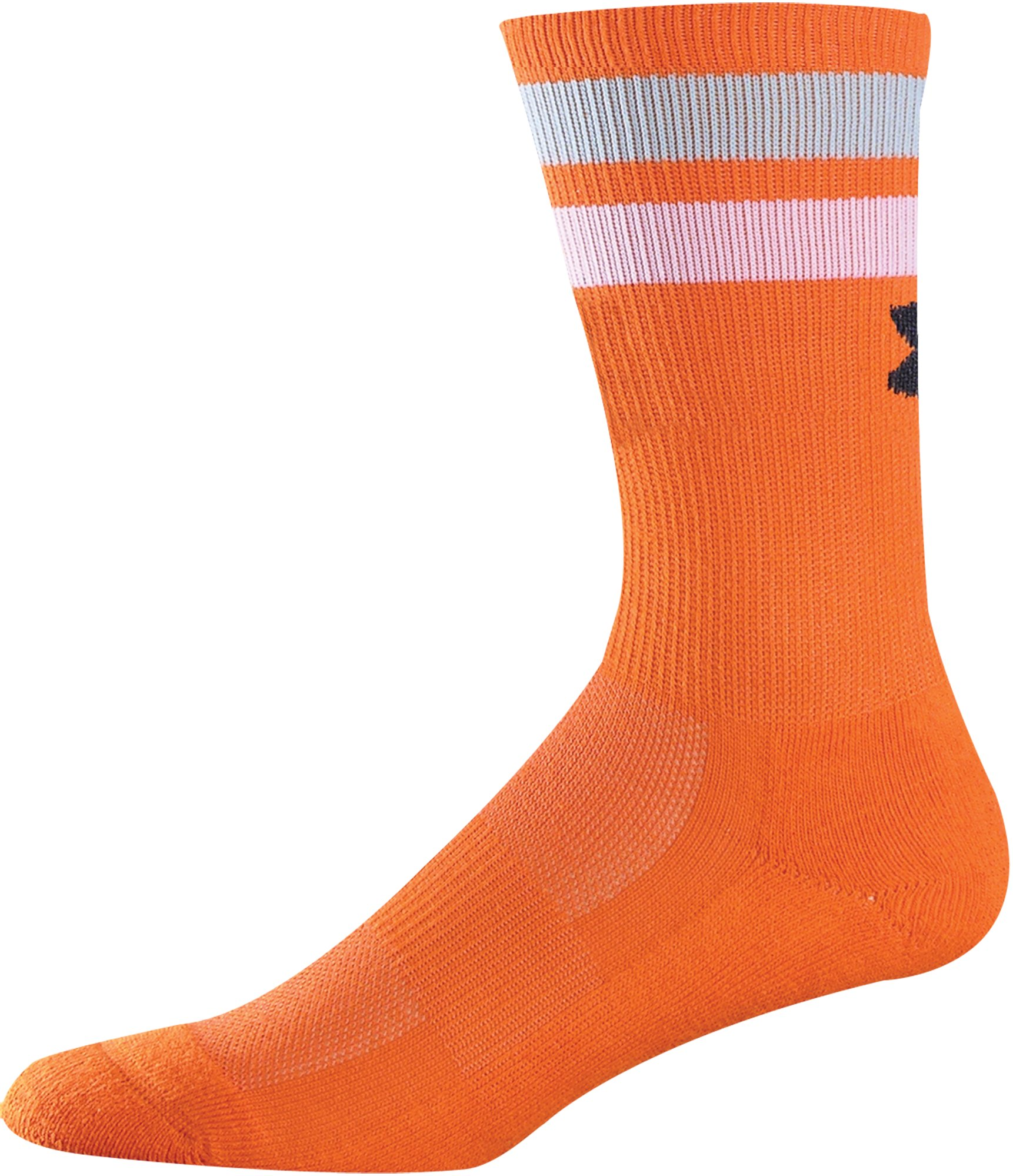 Men's UA Double Stripe Crew Socks, Orange , undefined