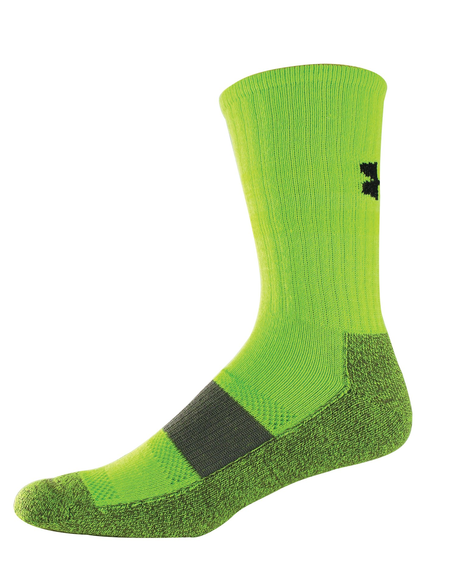 Youth UA Performance Crew Socks, HYPER GREEN, zoomed image