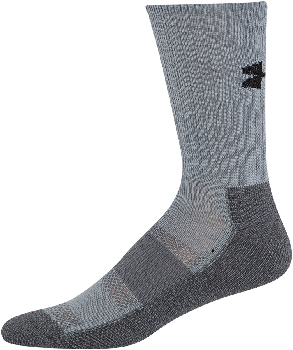 Men's UA Performance Crew Socks, Steel, zoomed image
