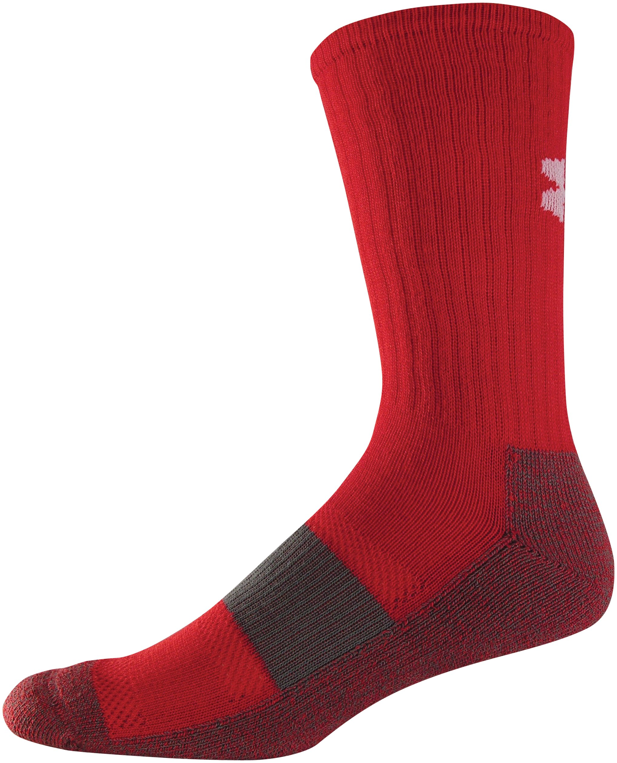 Men's UA Performance Crew Socks, Red, zoomed image