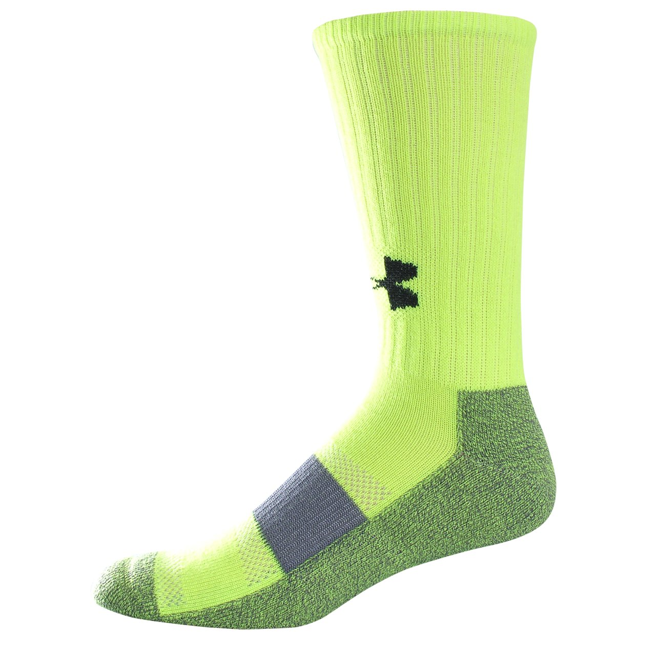 Men's UA Performance Crew Socks, High-Vis Yellow, zoomed image