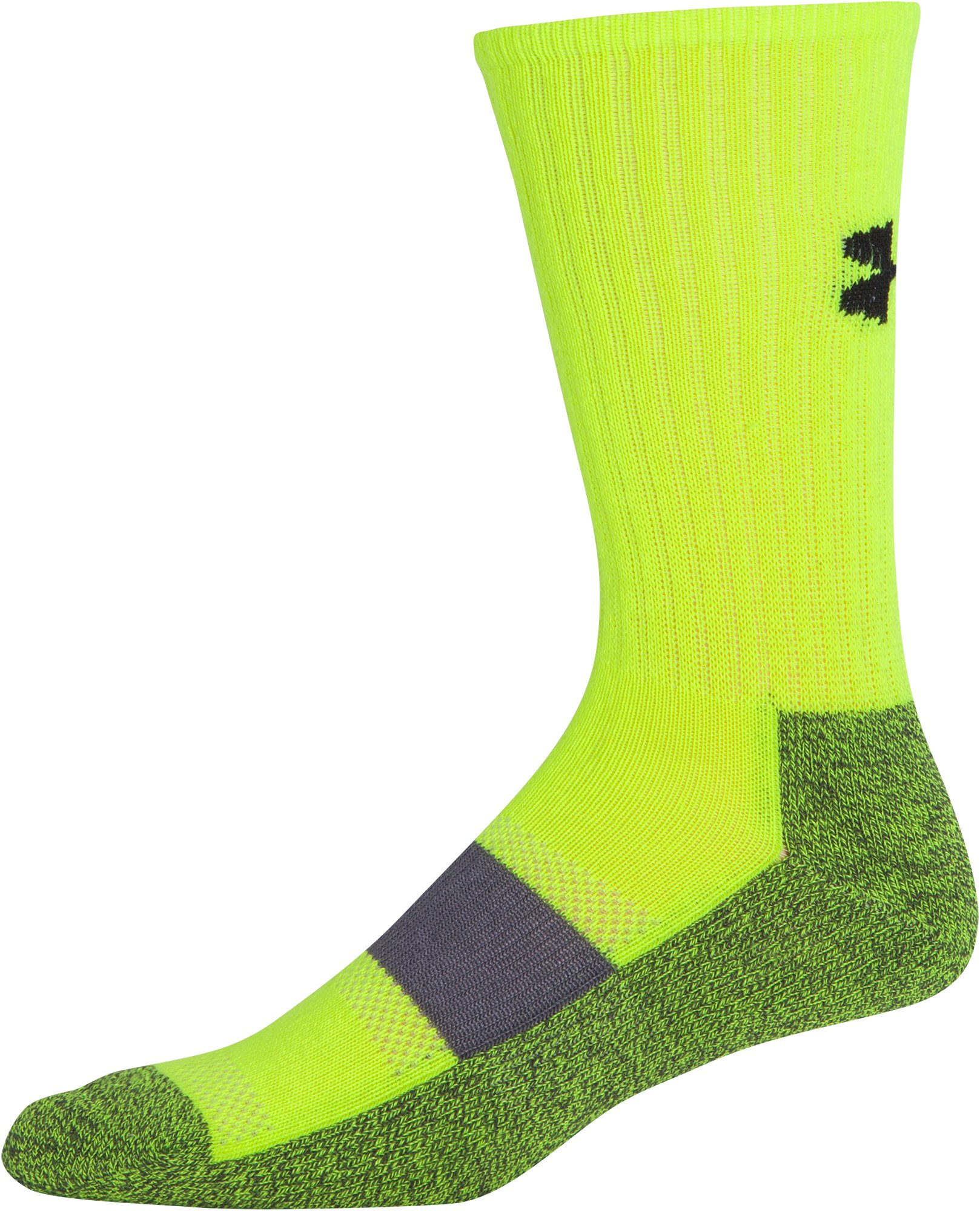 Men's UA Performance Crew Socks, High-Vis Yellow, undefined
