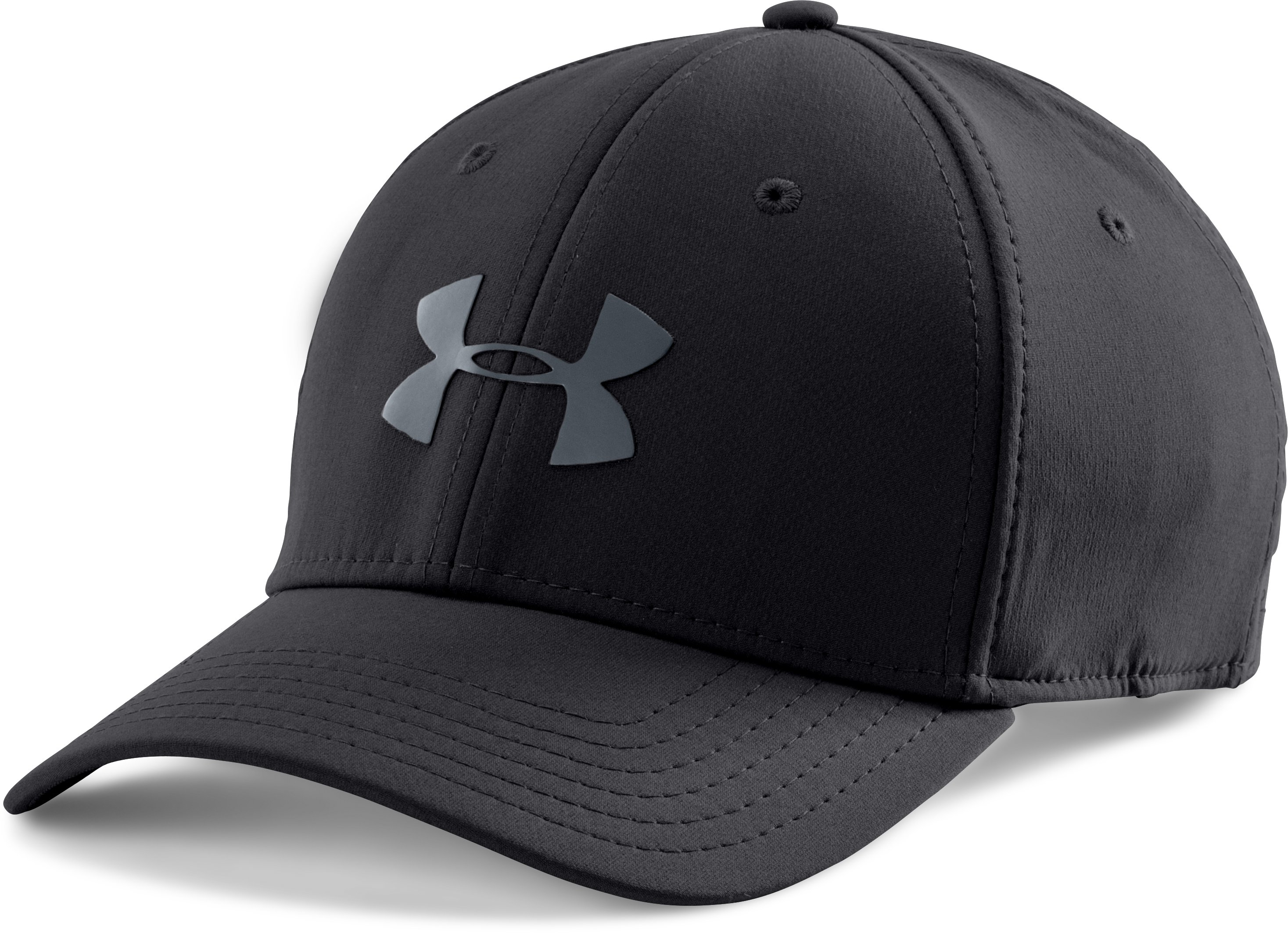 Men's UA Headline Stretch Fit Cap, Black , zoomed image