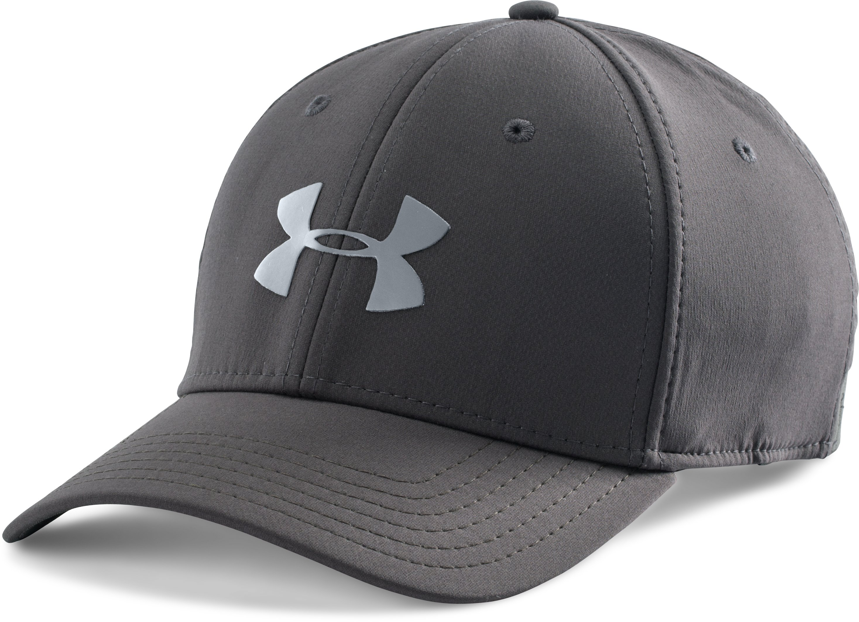 Men's UA Headline Stretch Fit Cap, Charcoal, zoomed image