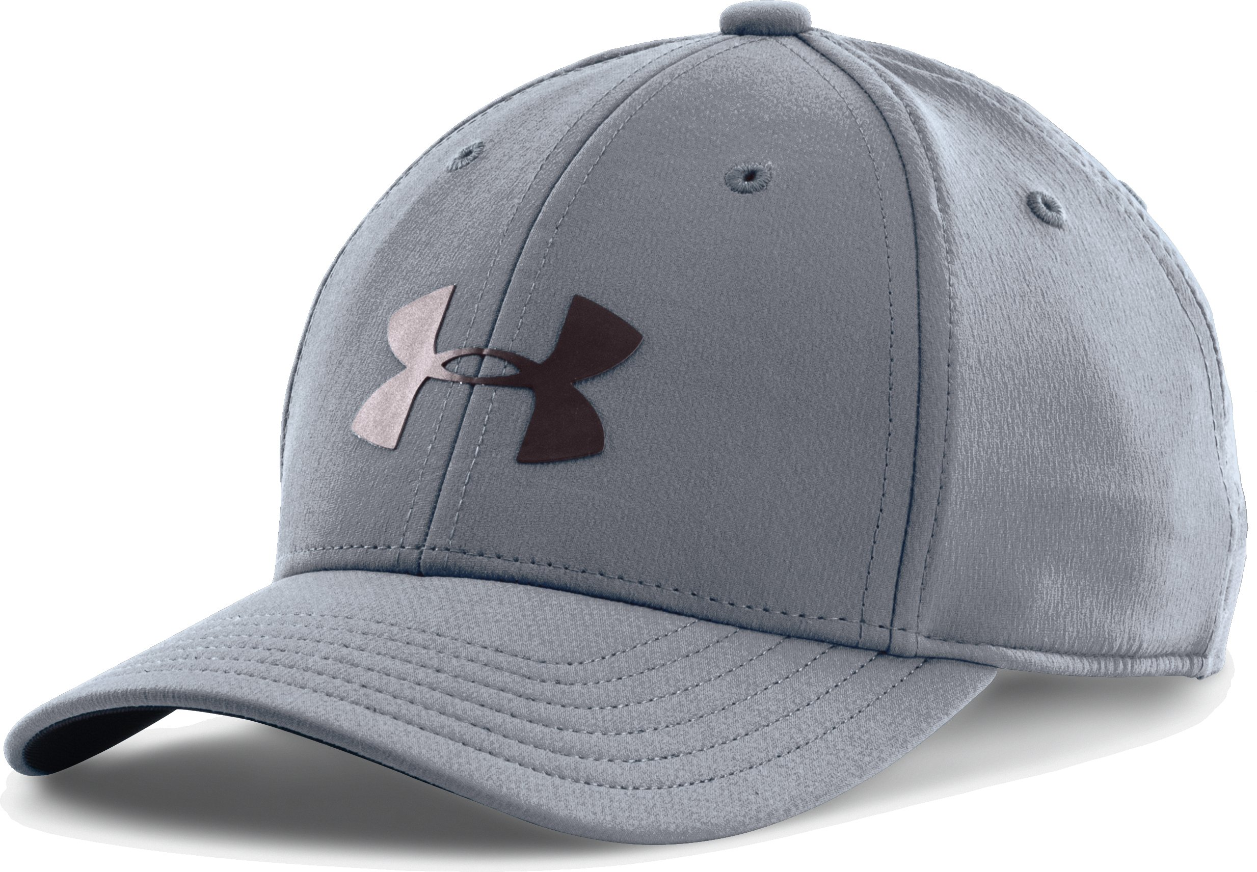 Boys' UA Headline Stretch Fit Cap, Steel, zoomed image