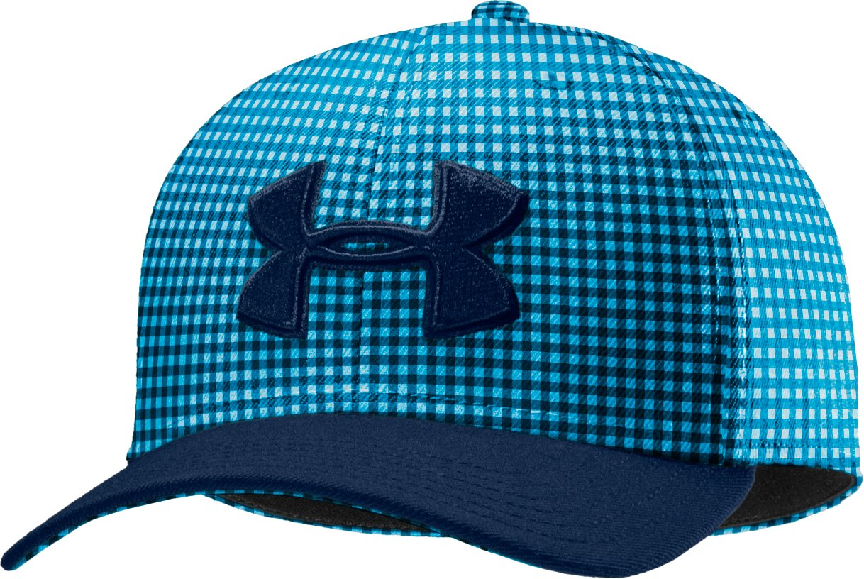 Men's UA Closer Plaid Low Crown Stretch Fit Cap, Academy