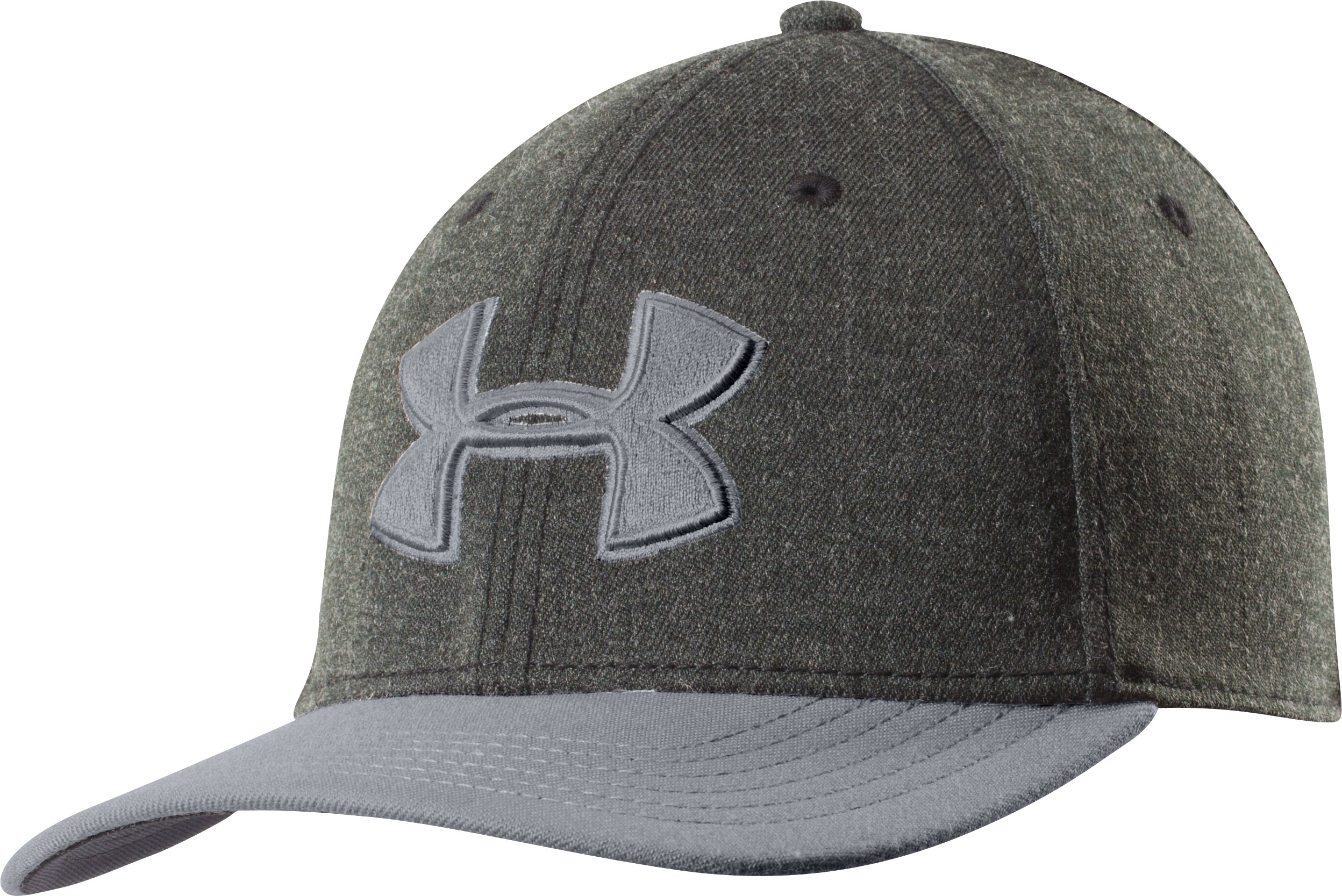 Men's UA Closer Low Crown Stretch Fit Cap, Asphalt Heather