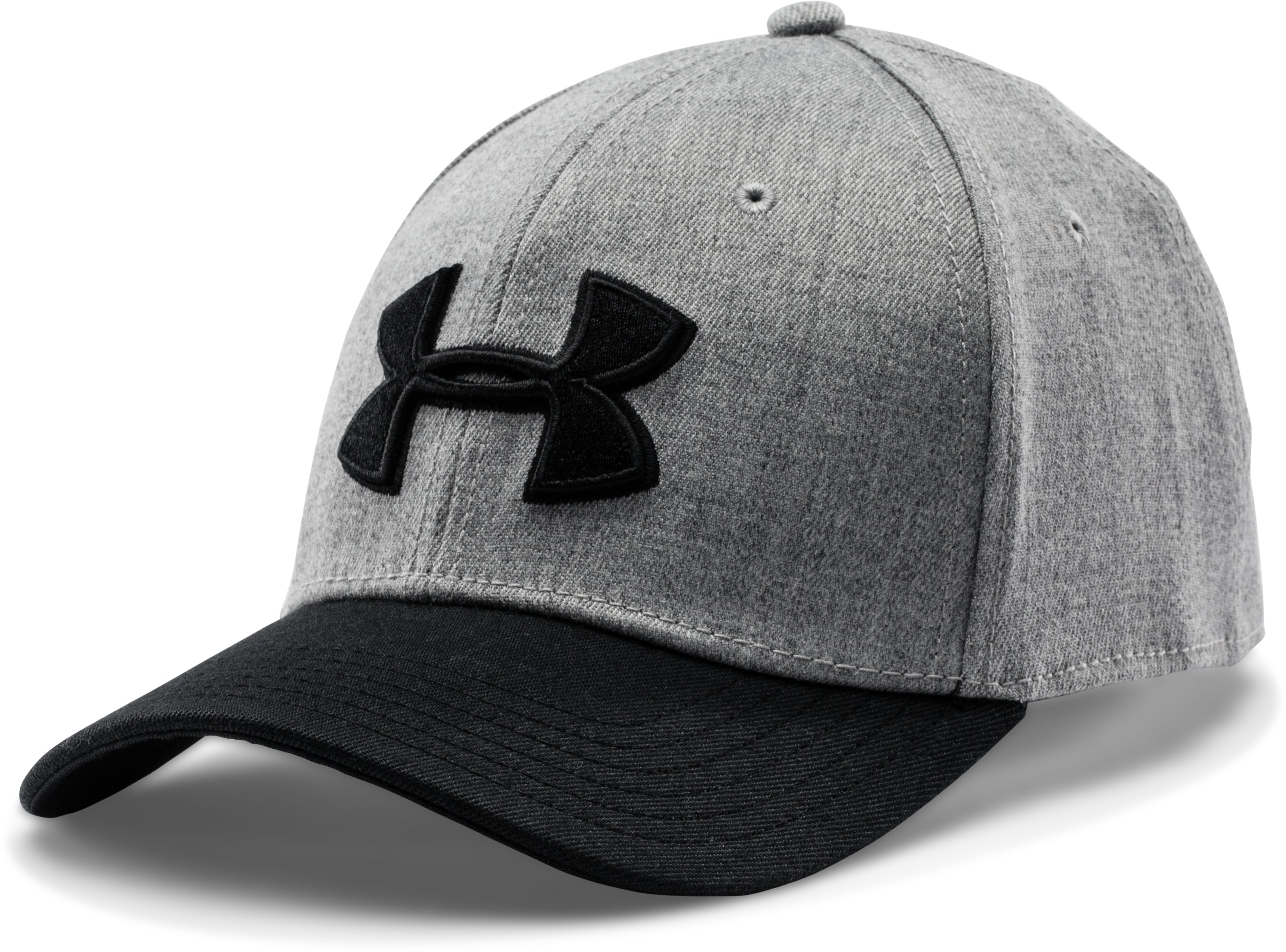 Men's UA Closer Low Crown Stretch Fit Cap, True Gray Heather