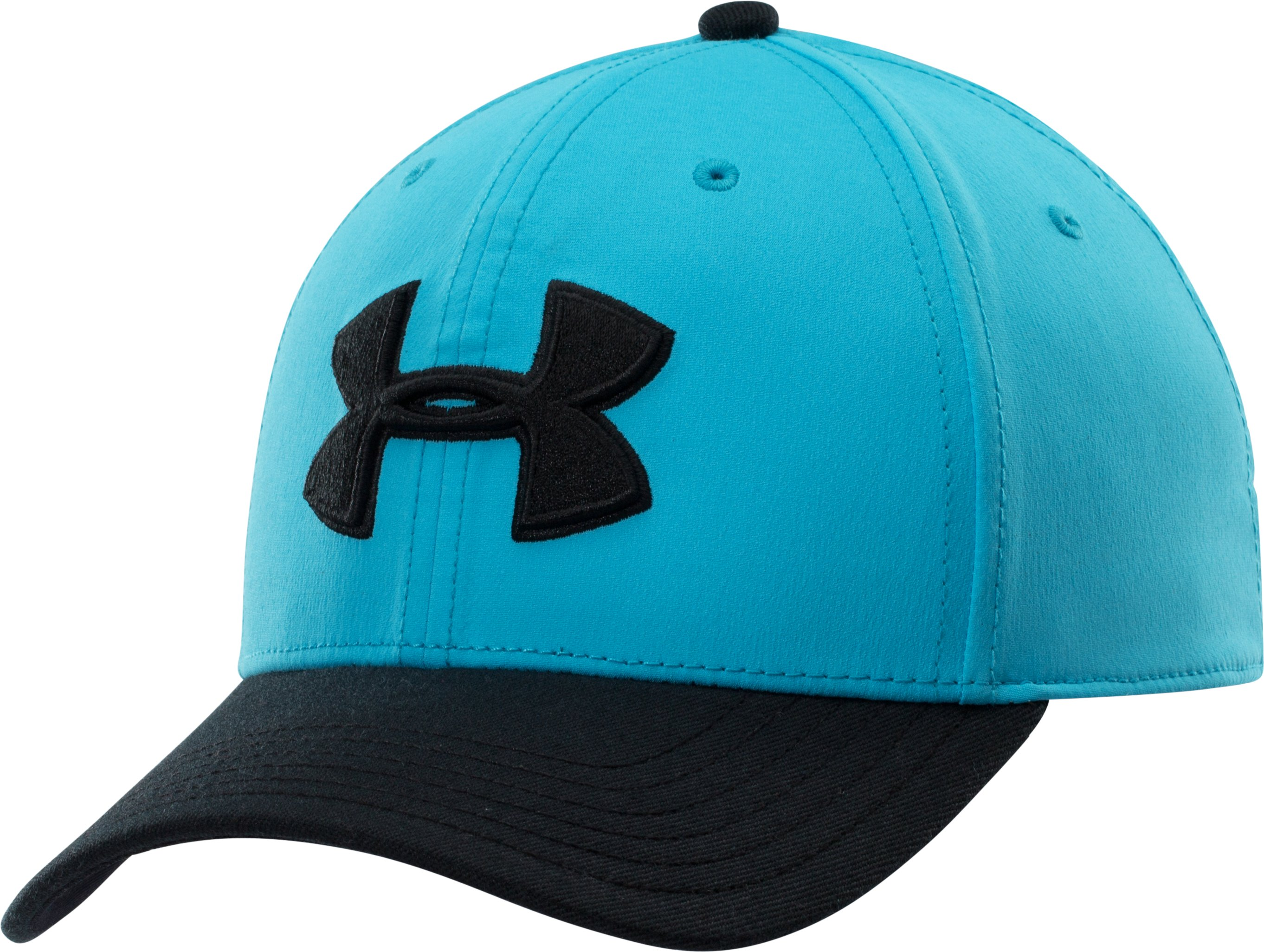 Men's UA Closer Low Crown Stretch Fit Cap, ISLAND BLUES, zoomed image