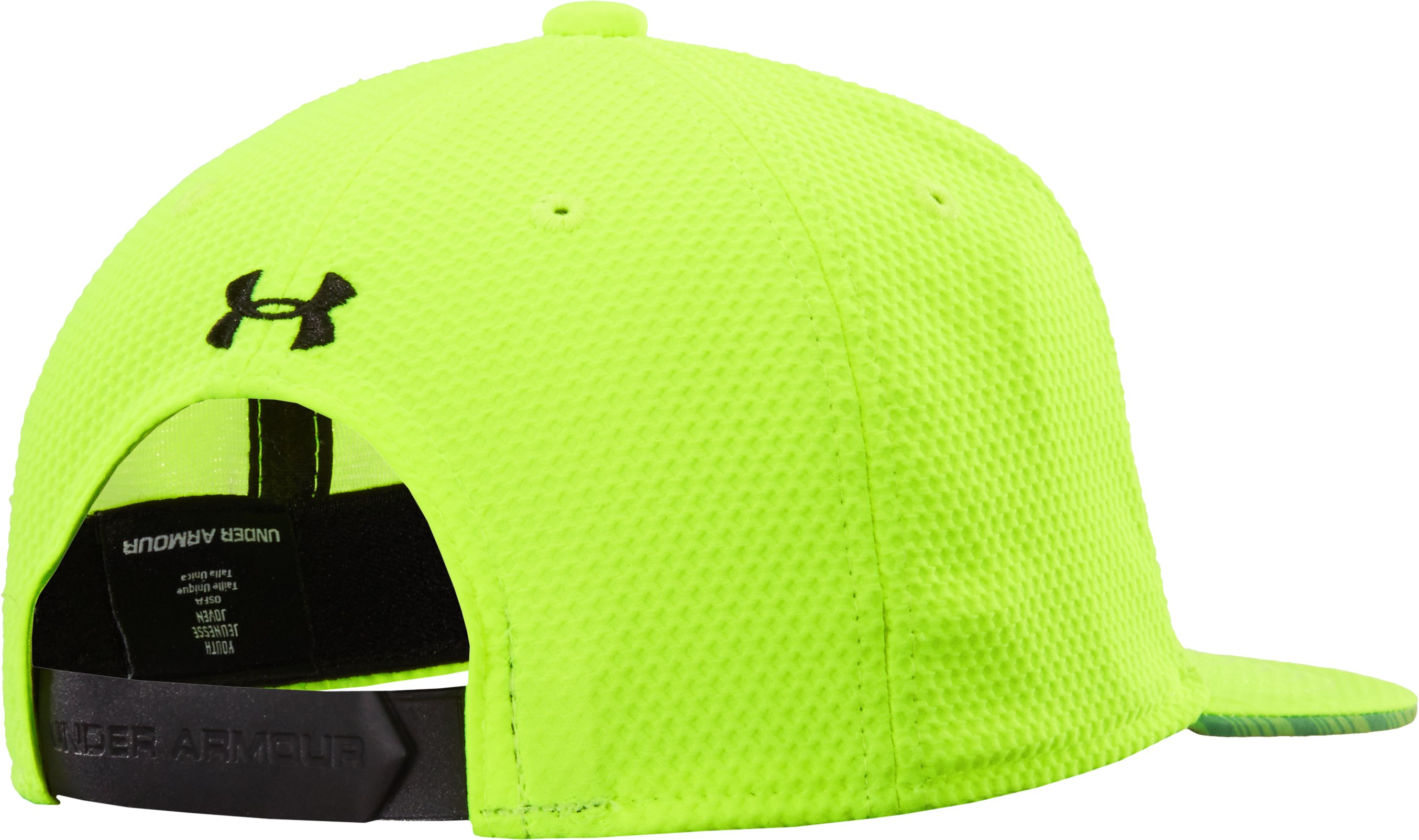 Boys' UA Eyes Up Spanback Flat Brim Cap, High-Vis Yellow