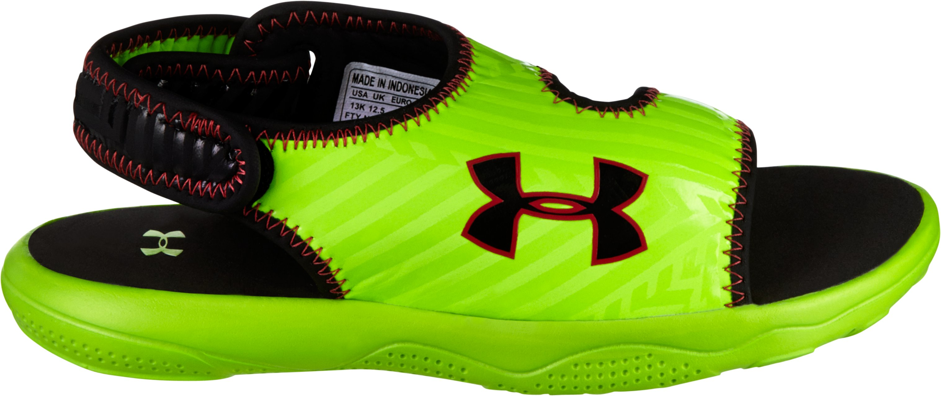 Boys' UA Flash Sandals, HYPER GREEN, zoomed image