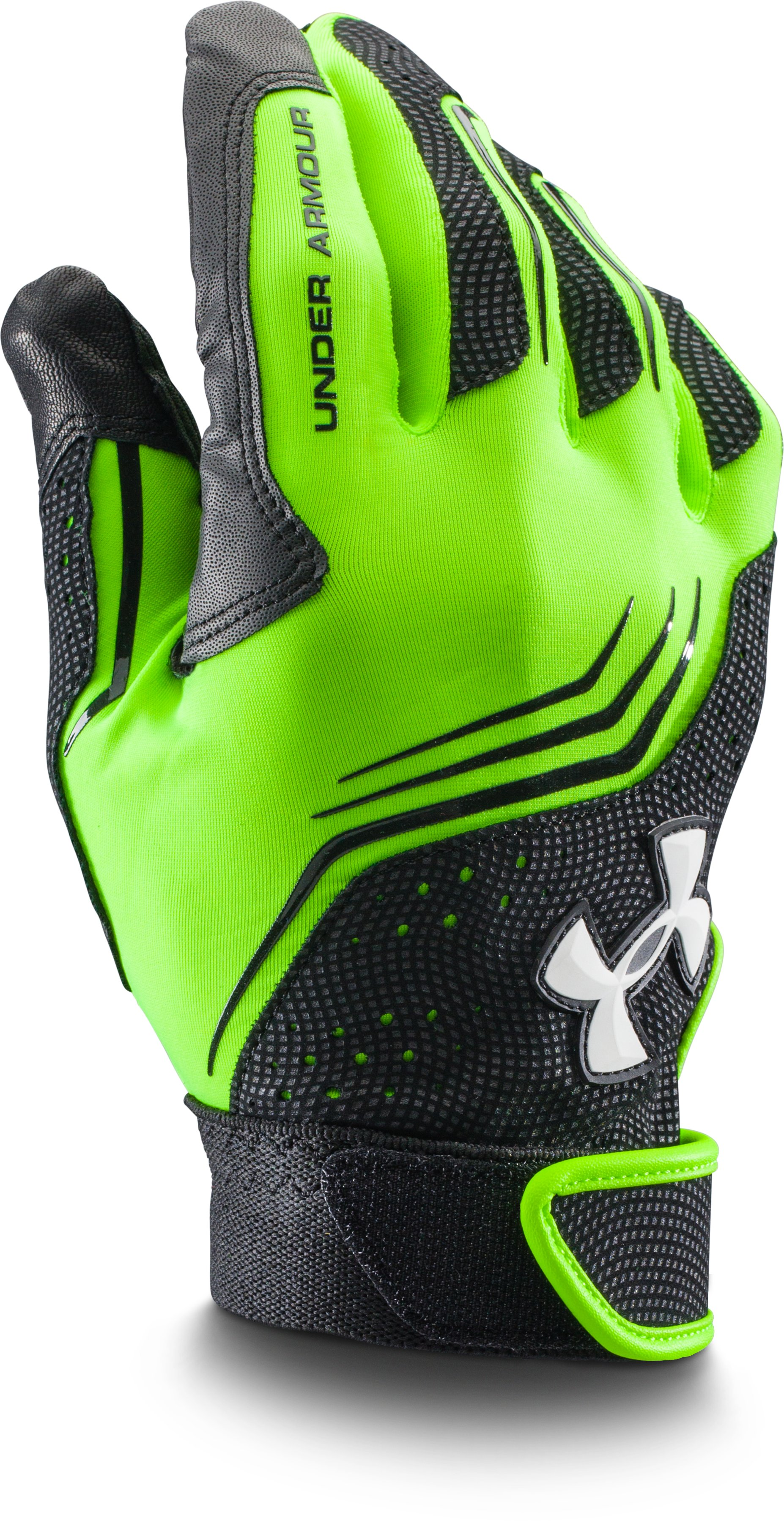 Men's UA Clean Up Batting Gloves, HYPER GREEN