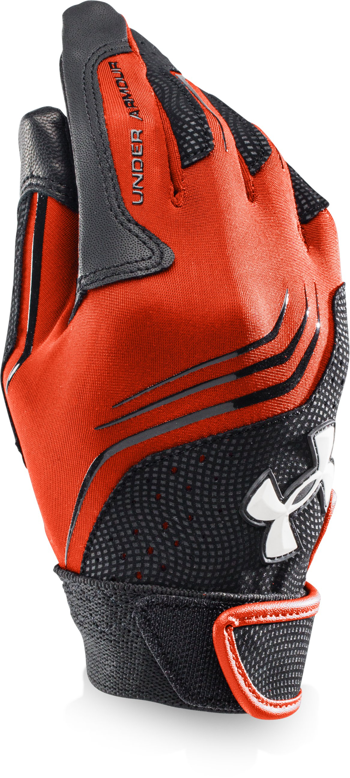 Boys' UA Clean Up Batting Gloves, Dark Orange