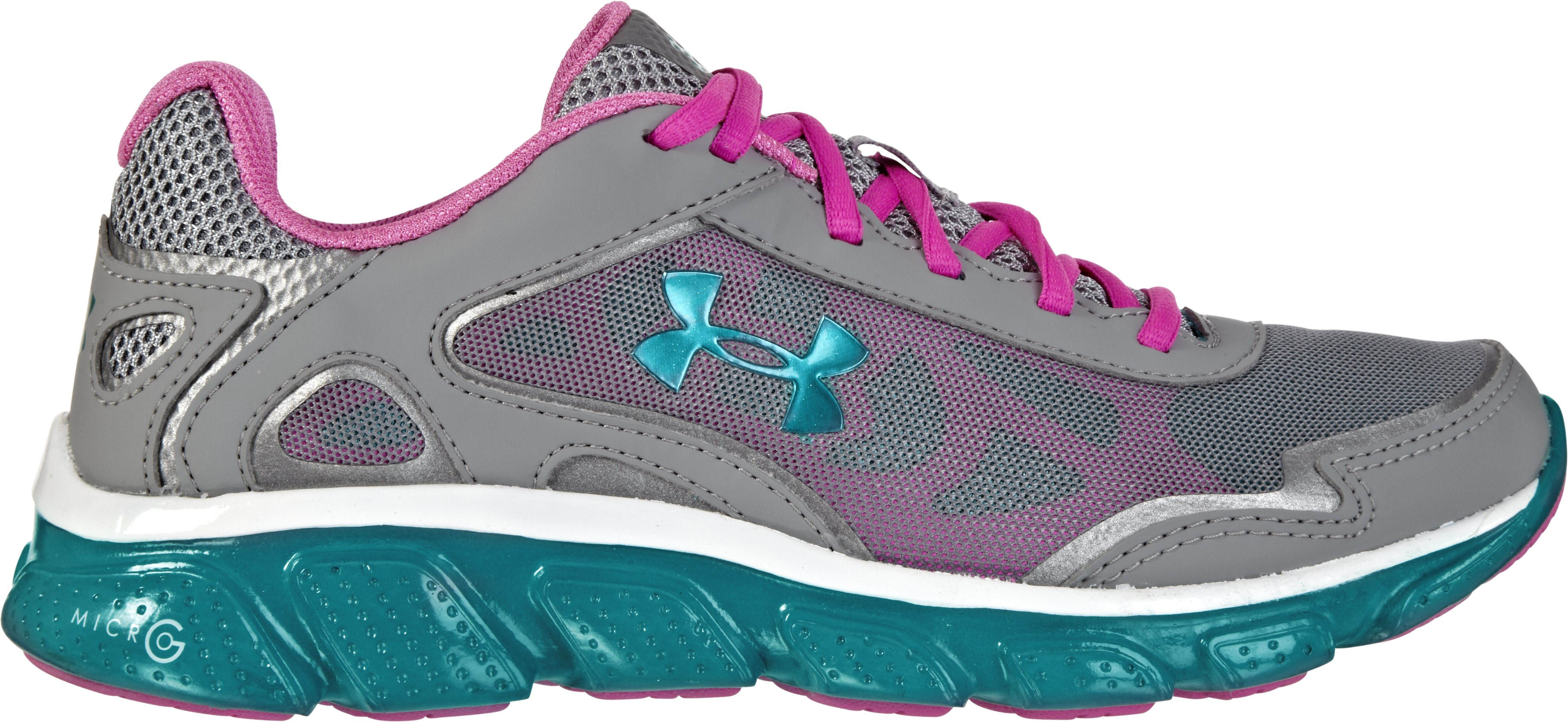Girls' Grade School UA Micro G® Pulse Running Shoes, Steel, zoomed image