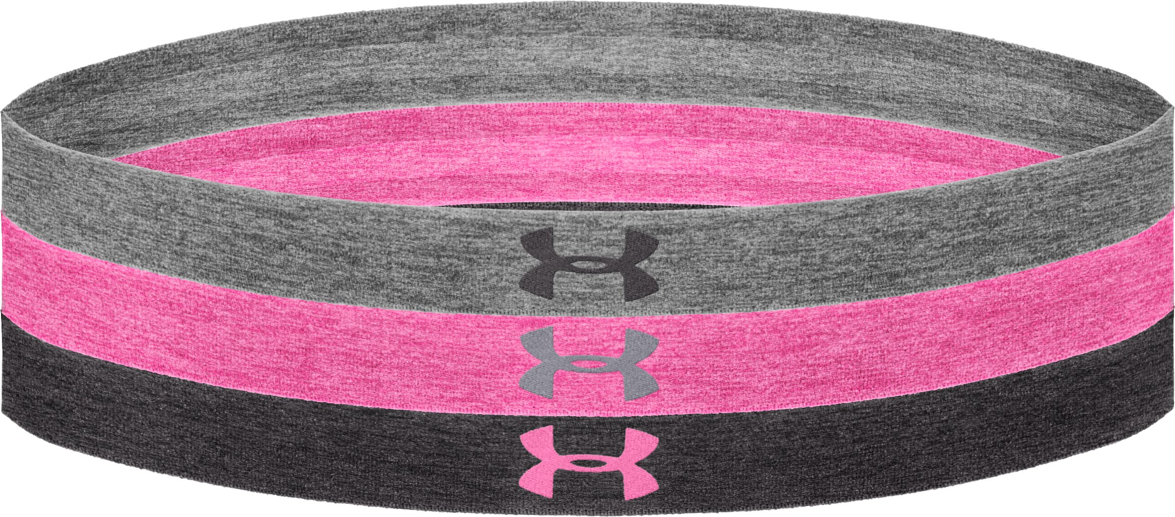 Women's UA Heathered Headband Multipack – 3pk, True Gray Heather, zoomed image