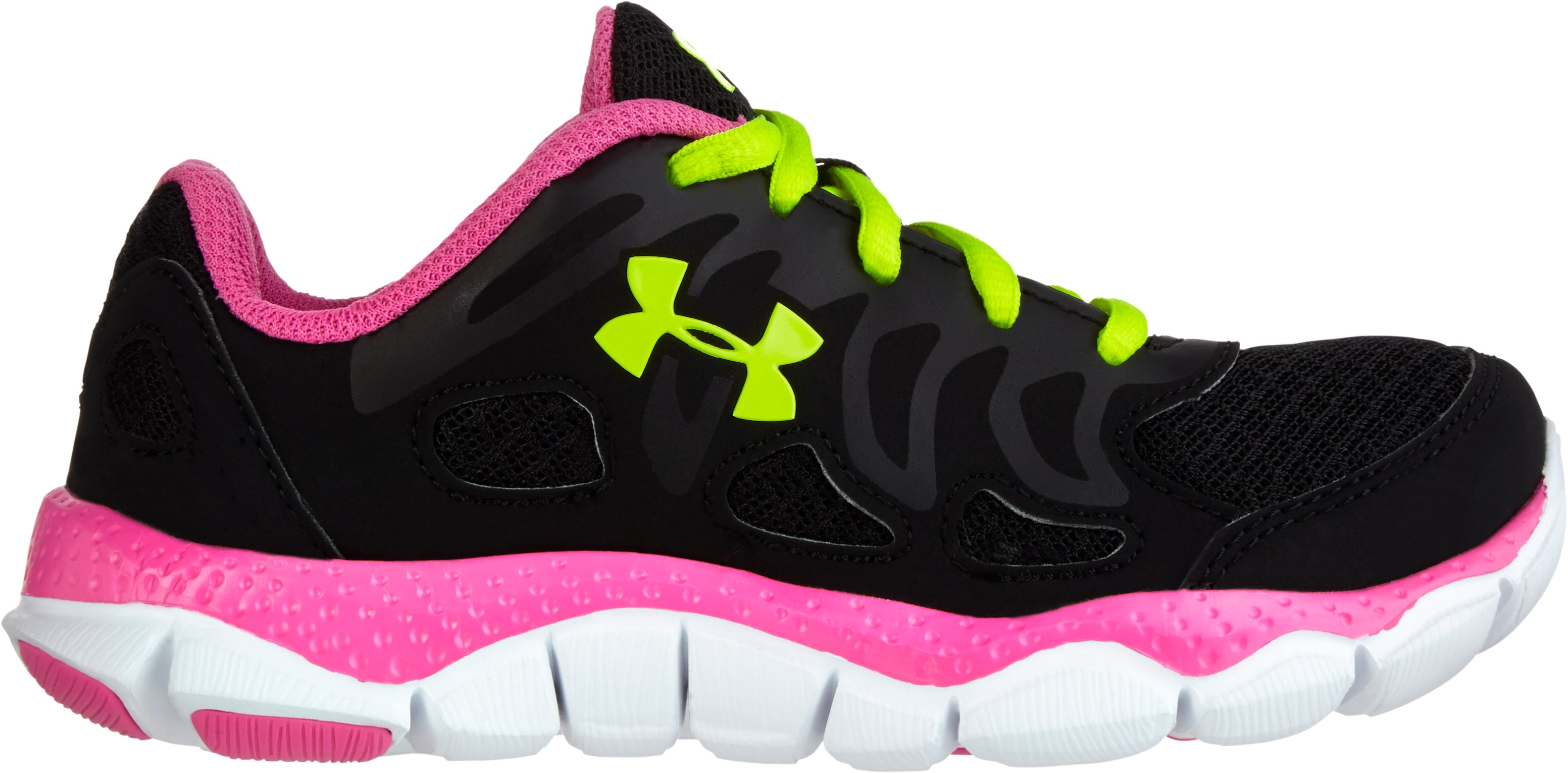 Girls' Pre-School UA Engage Running Shoes, Black , zoomed image