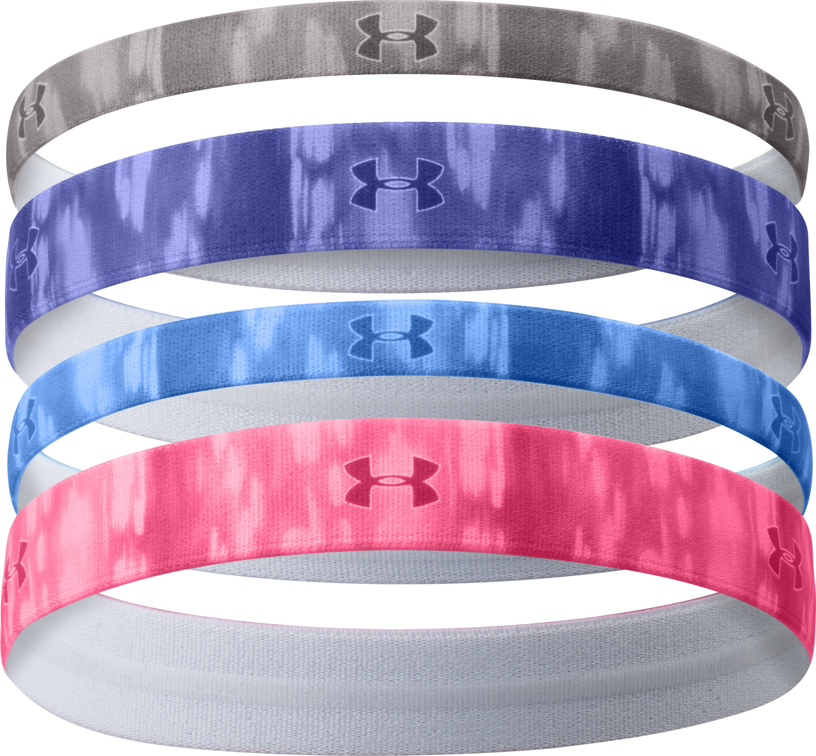 Women's UA Graphic Elastic Headband – 4pk, STEEPLE GRAY