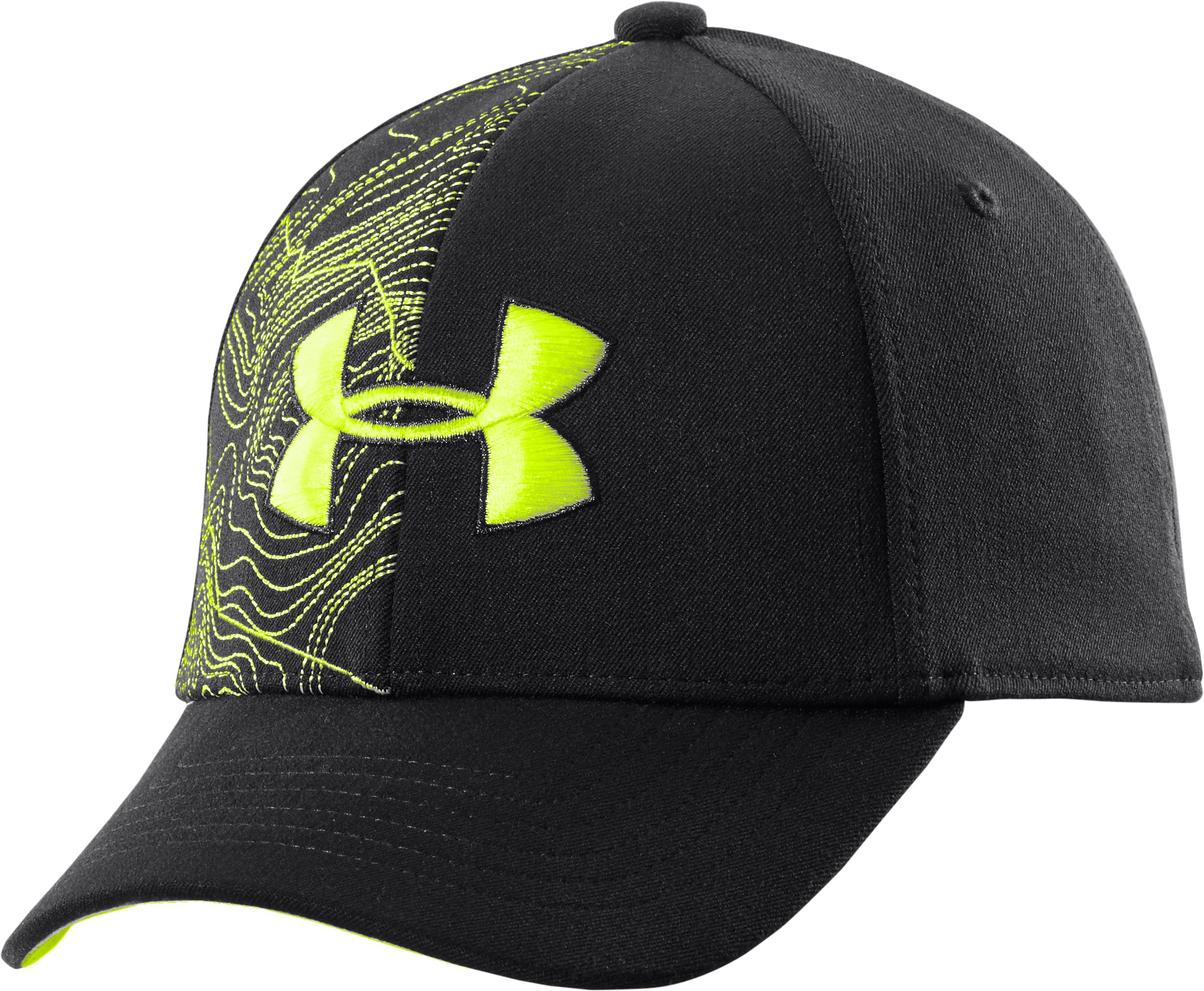 Boys' UA Big Logo Stretch Fit Cap, Black , undefined