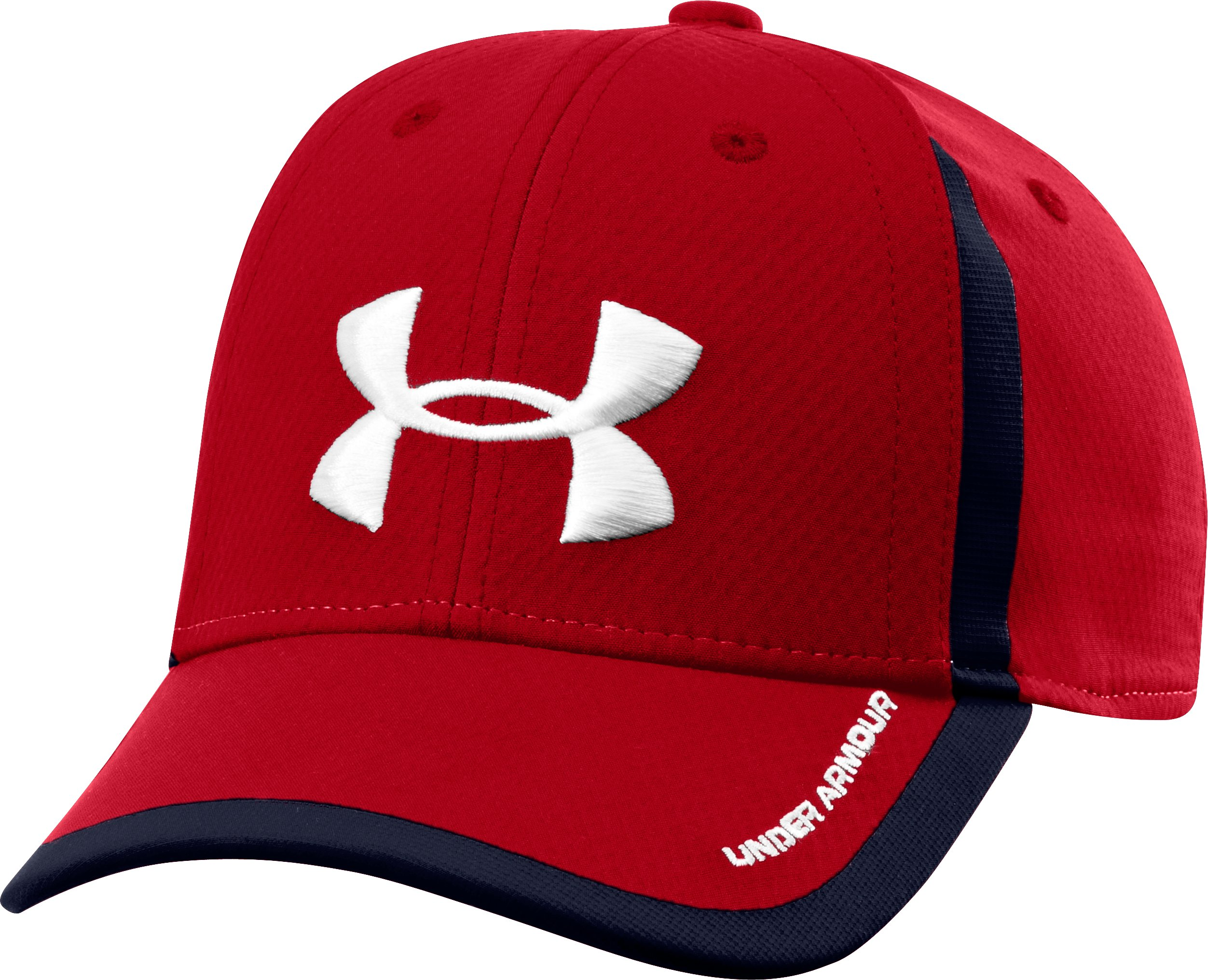 Boys' UA Sideline Stretch Fit Cap, Red, zoomed image