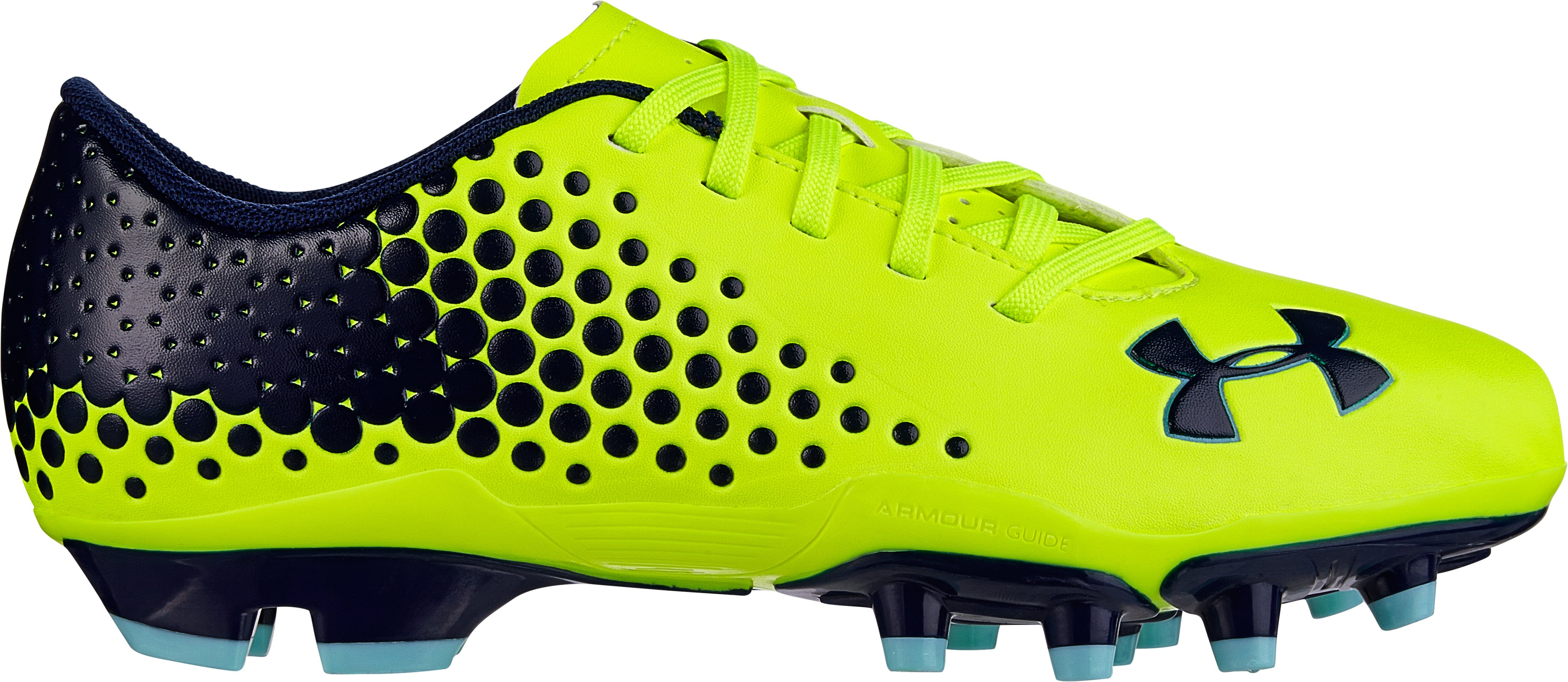 Kids' UA Blur Flash IV Soccer Cleats, High-Vis Yellow, zoomed image