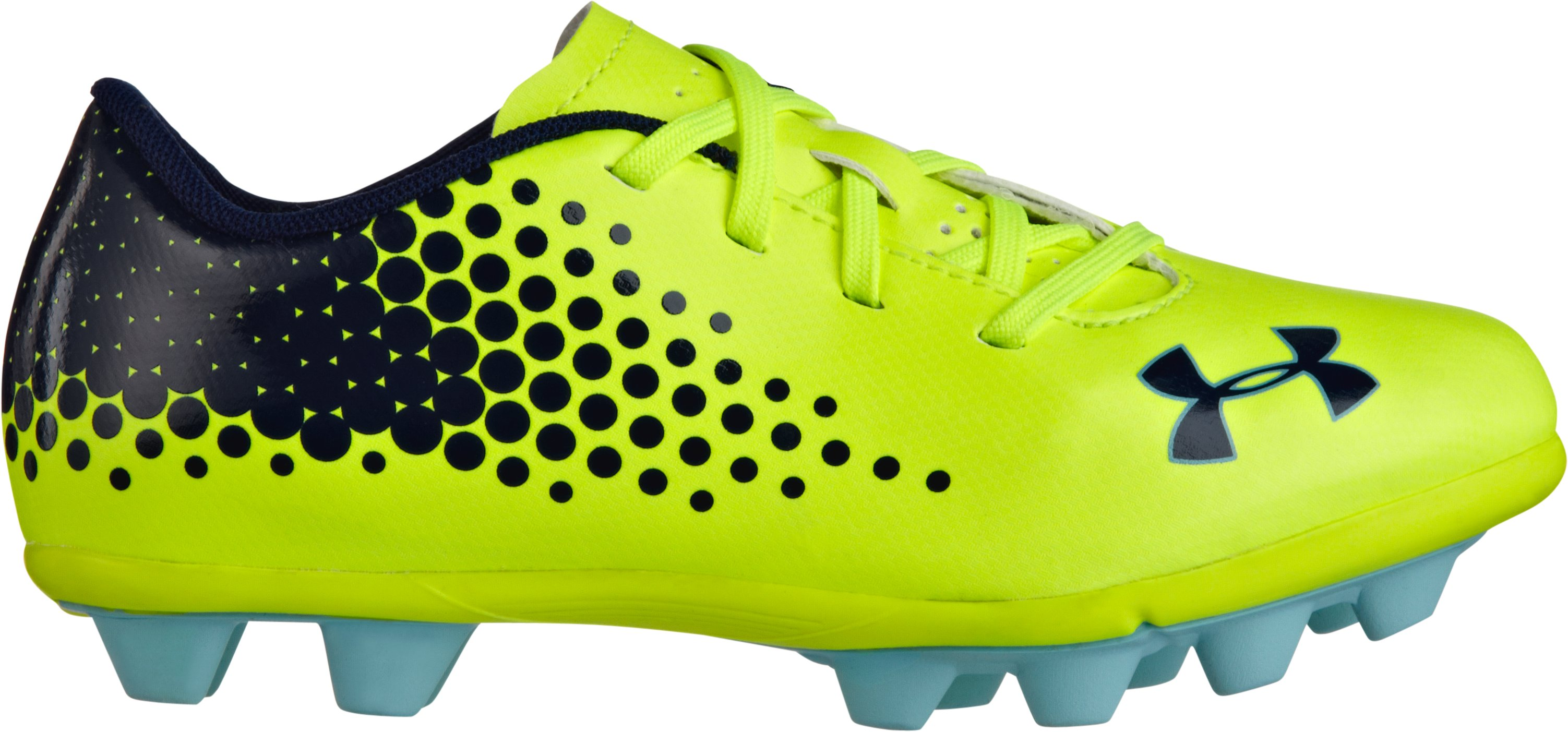 Kids' UA Blur IV HG JR Soccer Cleats, High-Vis Yellow, zoomed image