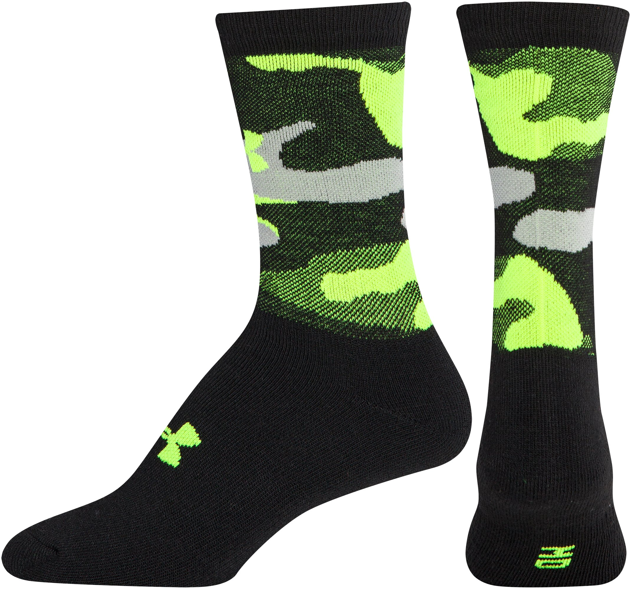 Men's UA Camo Crew Socks, Black , zoomed image