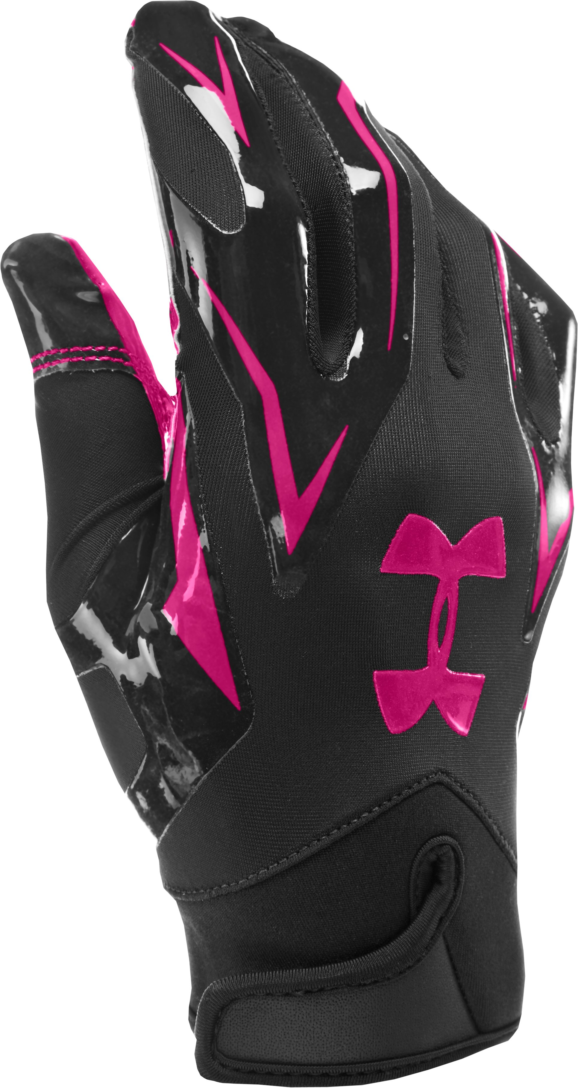 Men's UA F4 Football Gloves, Tropic Pink, zoomed image