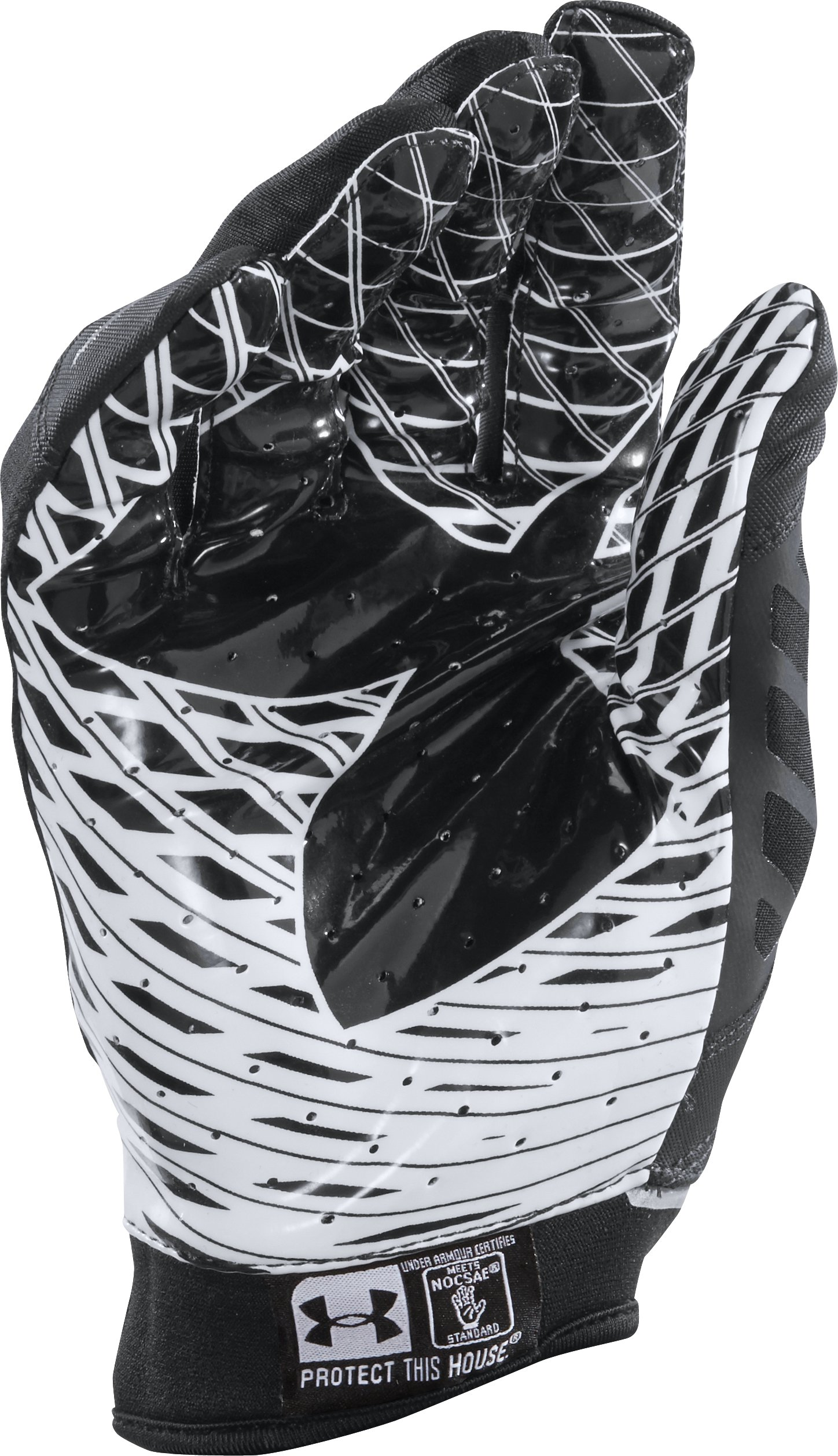 Men's UA Nitro Warp Football Gloves, Black , zoomed image