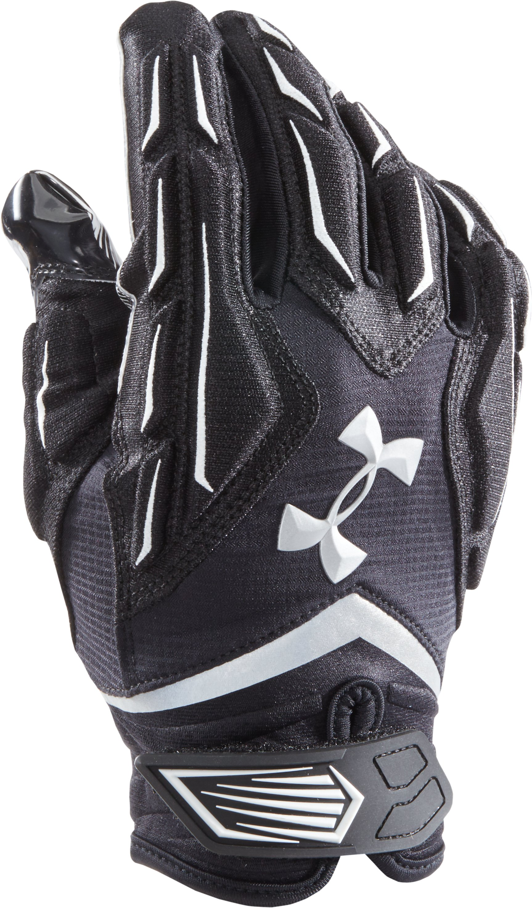 Men's UA Nitro Warp Padded Football Gloves, Black , zoomed image